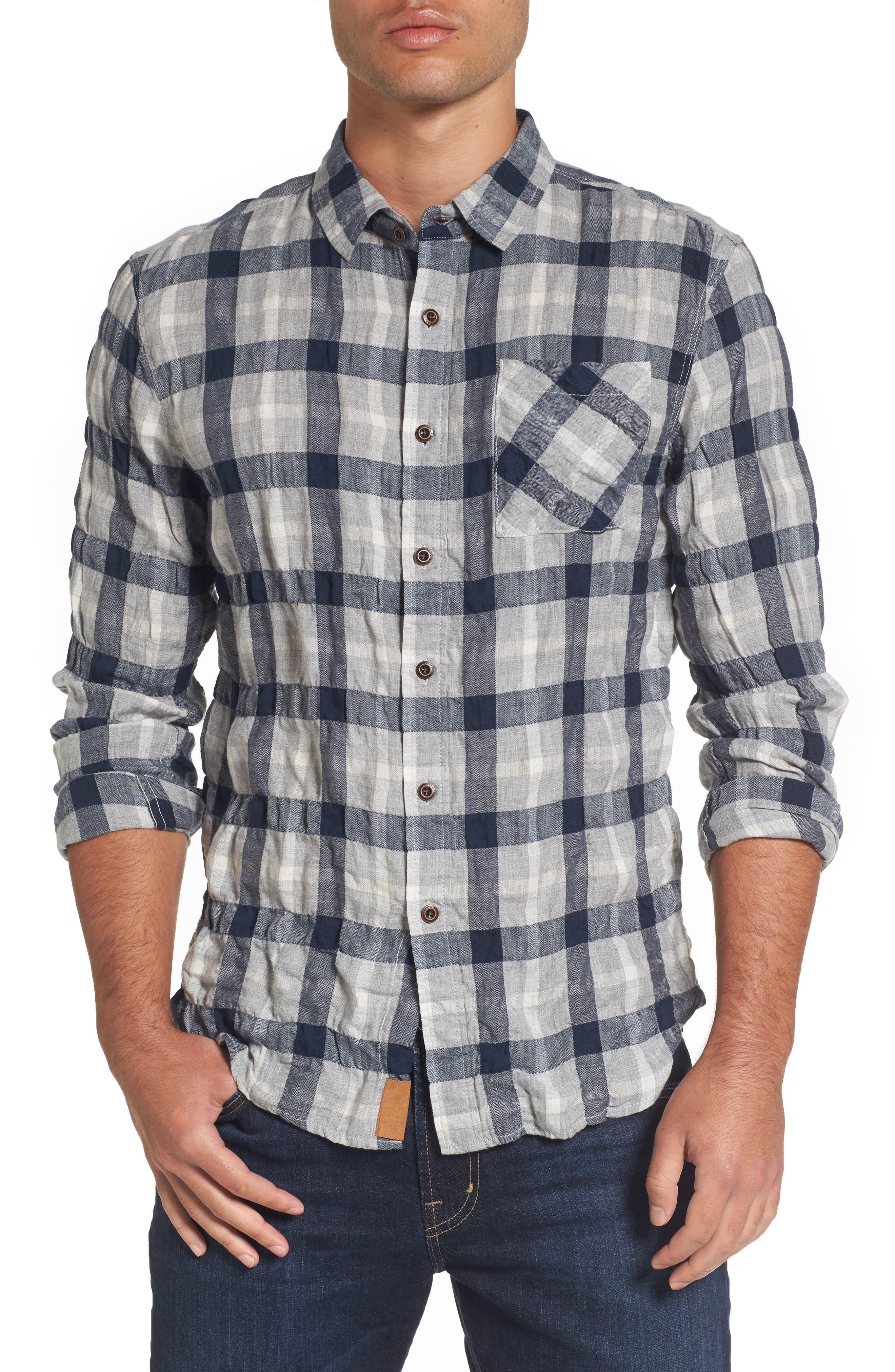 Truman Plaid Sport Shirt,                             Main thumbnail 1, color,                             Gray/ Navy/ White