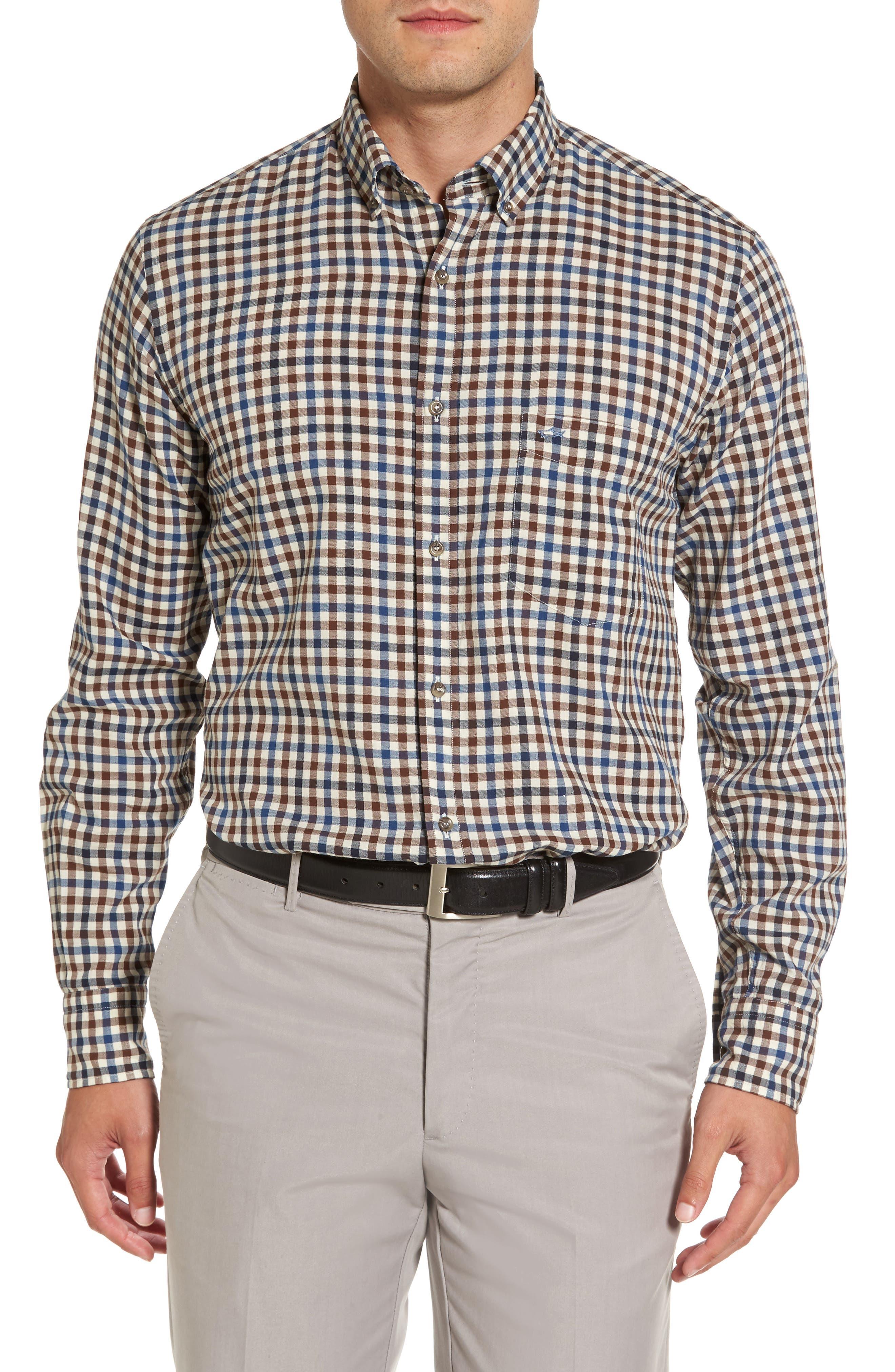 Paul&Shark Jacquard Check Sport Shirt,                         Main,                         color, Brown / Blue / Beige