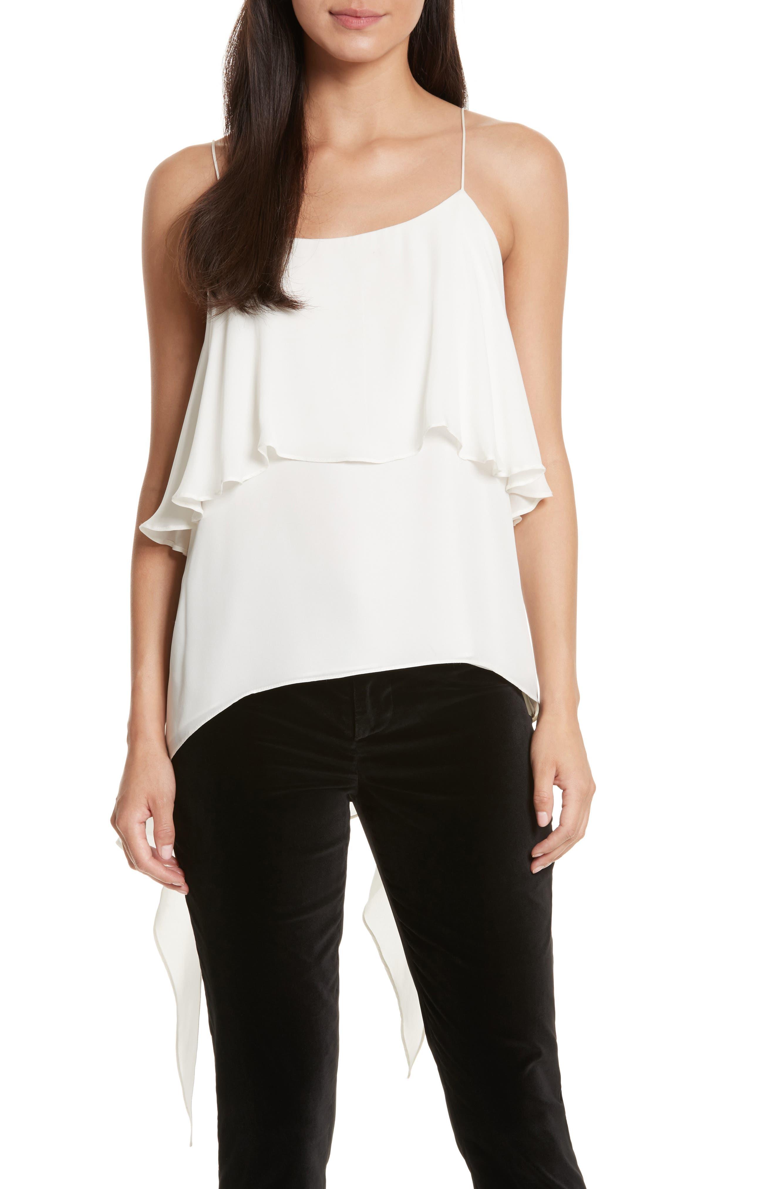 Alternate Image 1 Selected - Alice + Olivia Maribel Asymmetrical Drape Silk Camisole