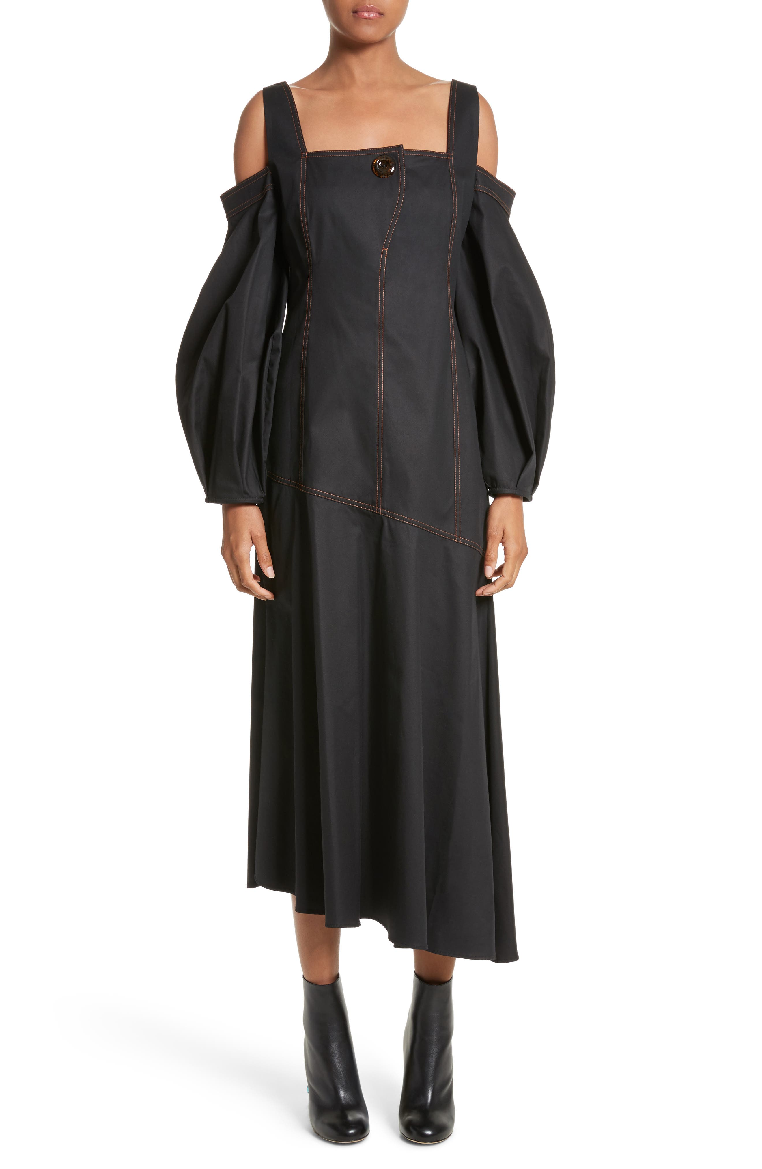 Mississippi Off the Shoulder Stretch Twill Dress,                             Main thumbnail 1, color,                             Black W Toffee