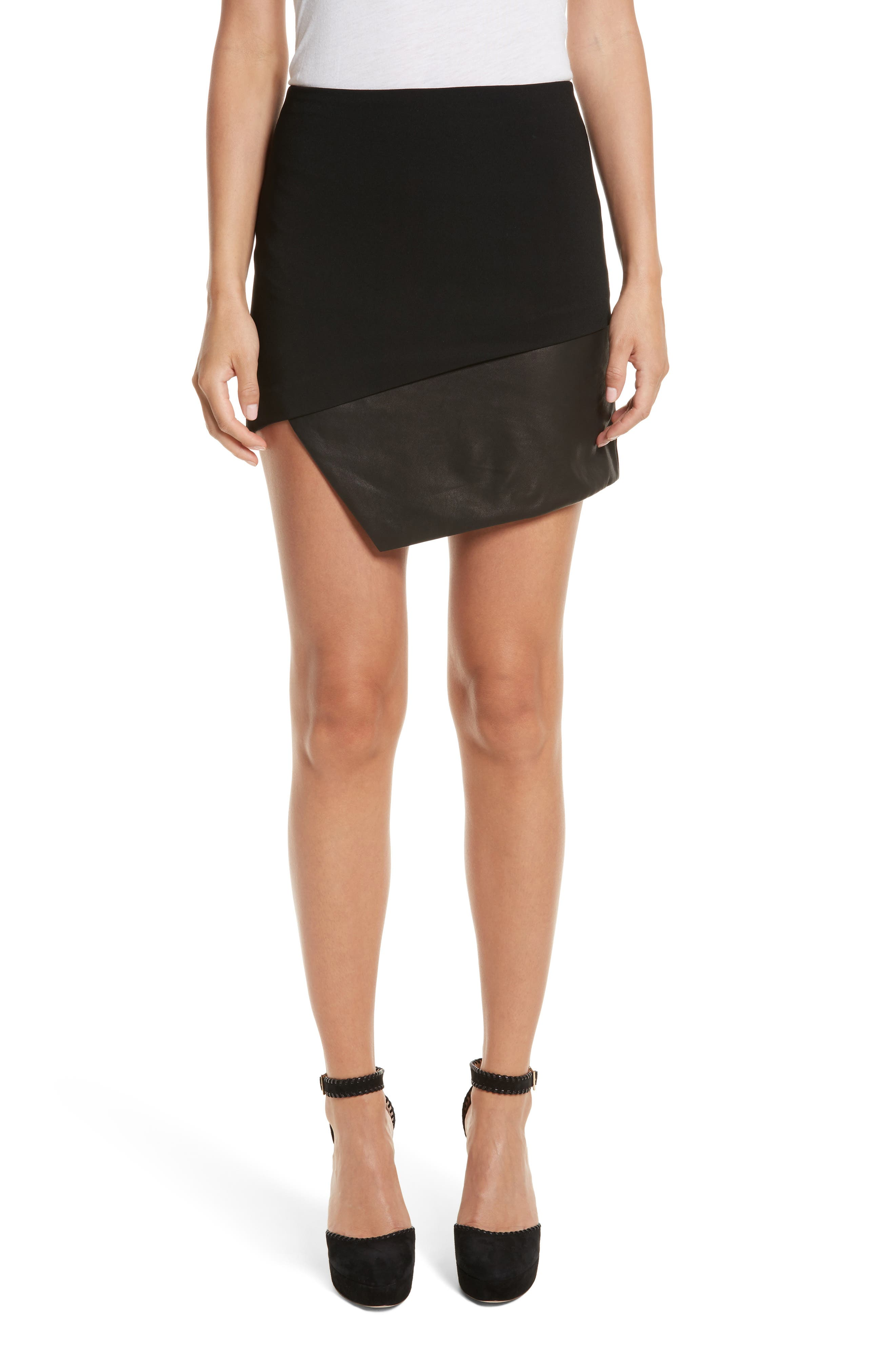 Dora Asymmetrical Miniskirt,                         Main,                         color, Black