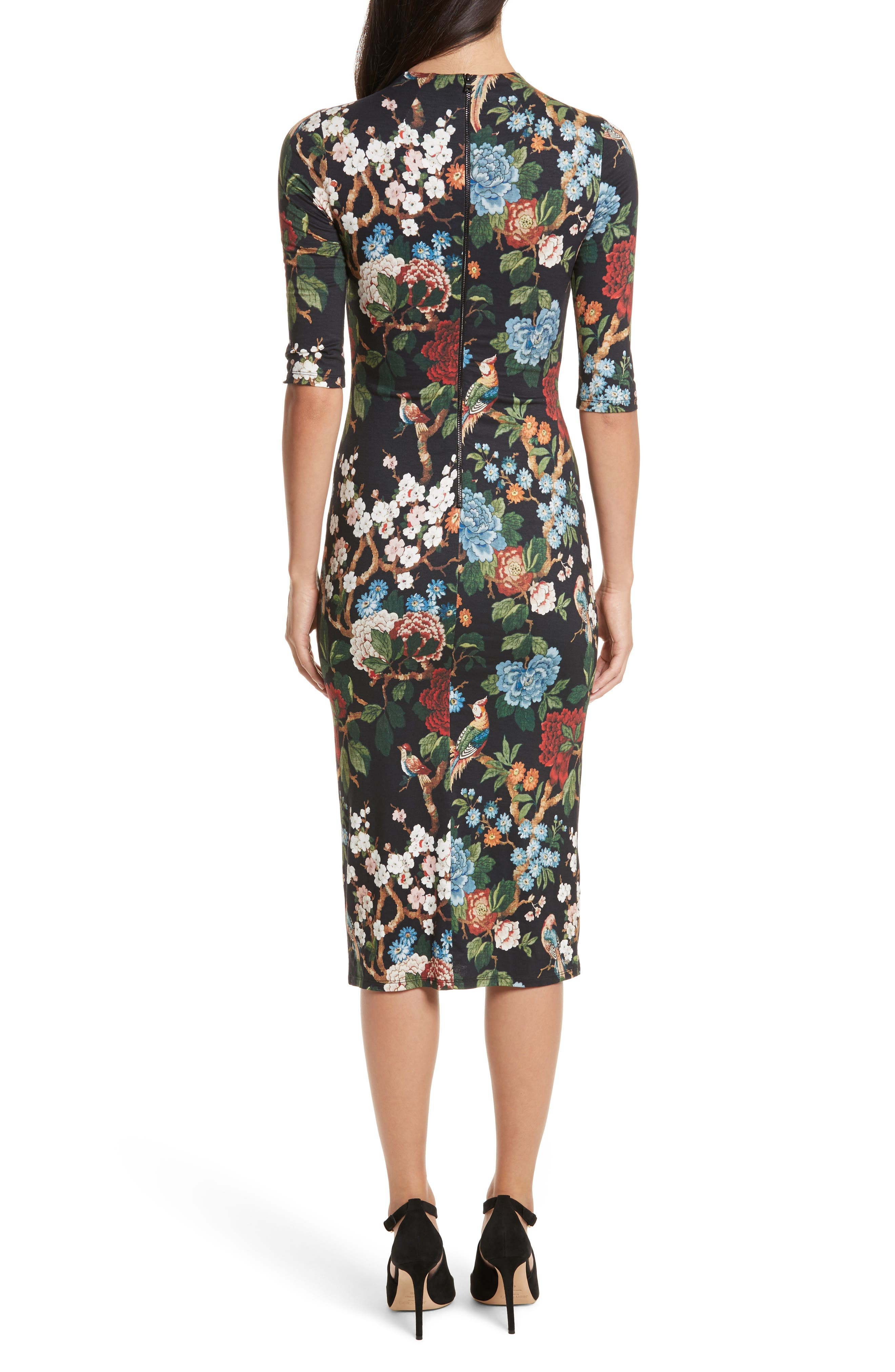 Alternate Image 2  - Alice + Olivia Delora Print Fitted Midi Dress