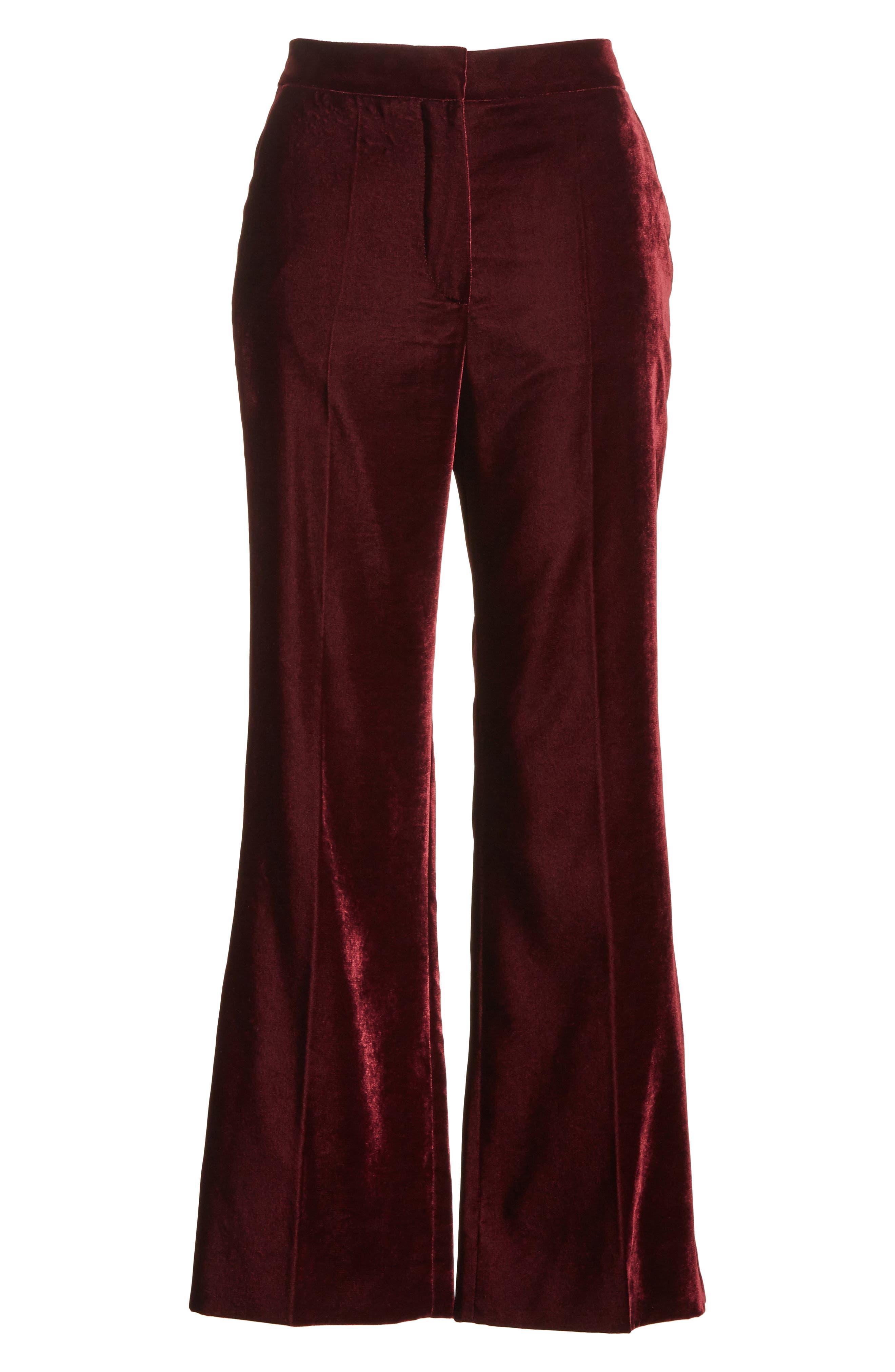 Bonded Velvet Crop Pants,                             Alternate thumbnail 7, color,                             Burgundy