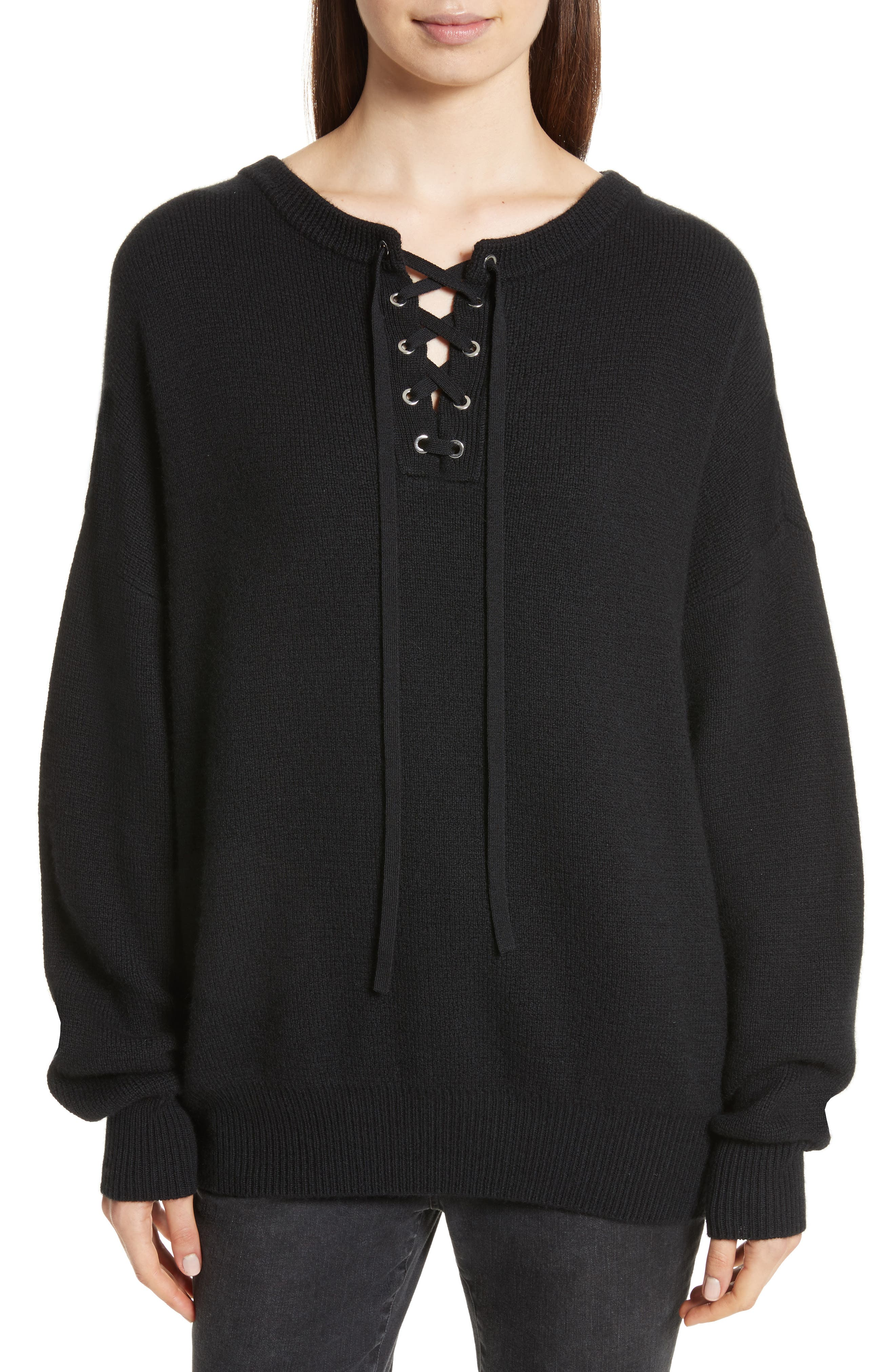 ROBERT RODRIGUEZ Lace-Up Merino Wool & Cashmere Sweater
