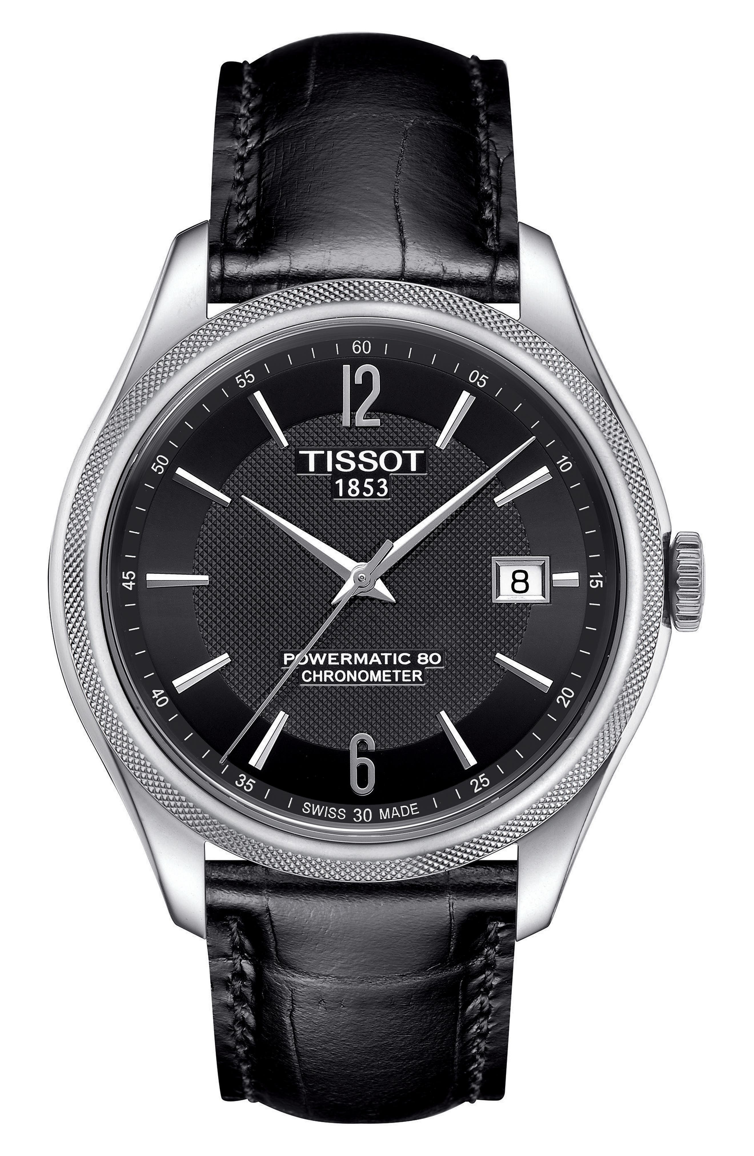 Alternate Image 1 Selected - Tissot Ballade Powermatic 80 Chronometer Leather Strap Watch, 39mm