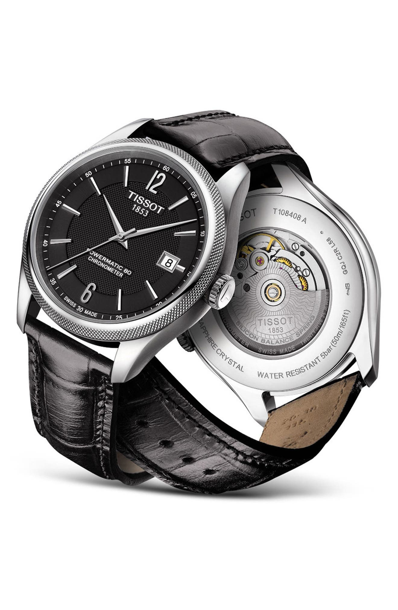 Alternate Image 2  - Tissot Ballade Powermatic 80 Chronometer Leather Strap Watch, 39mm