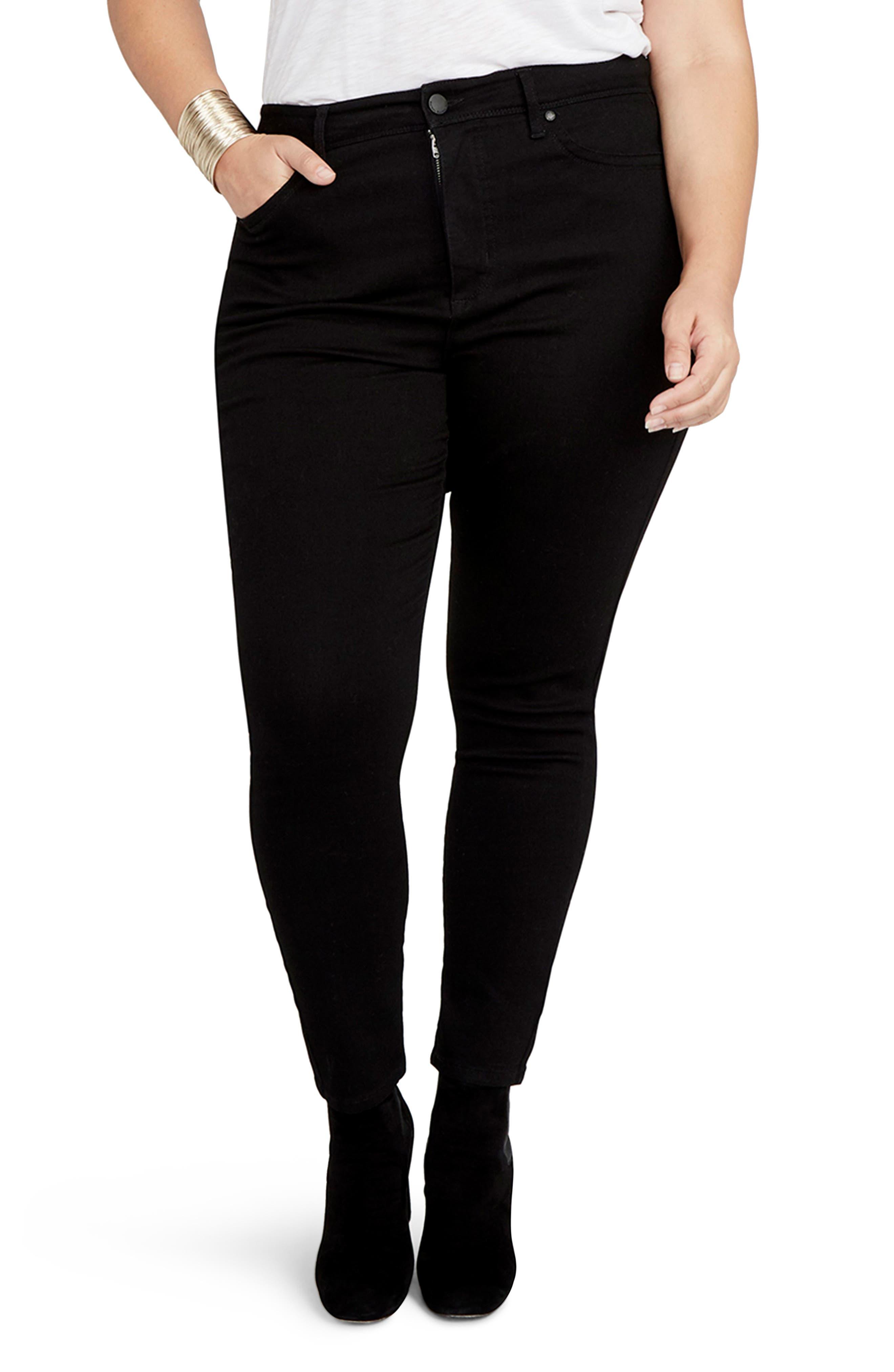 Curvy High Waist Skinny Jeans,                         Main,                         color, Black