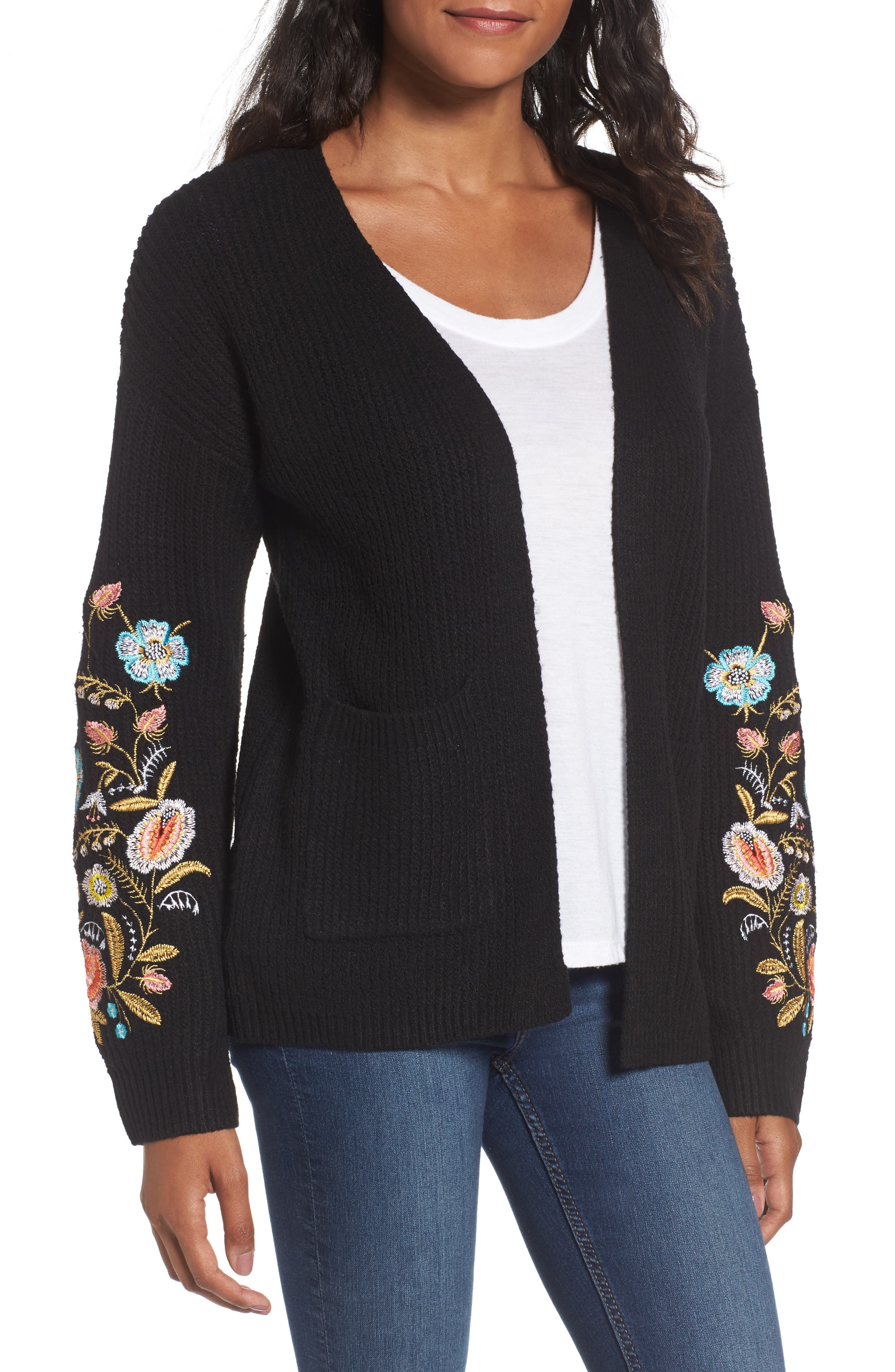 Embroidered Cardigan,                         Main,                         color, Black