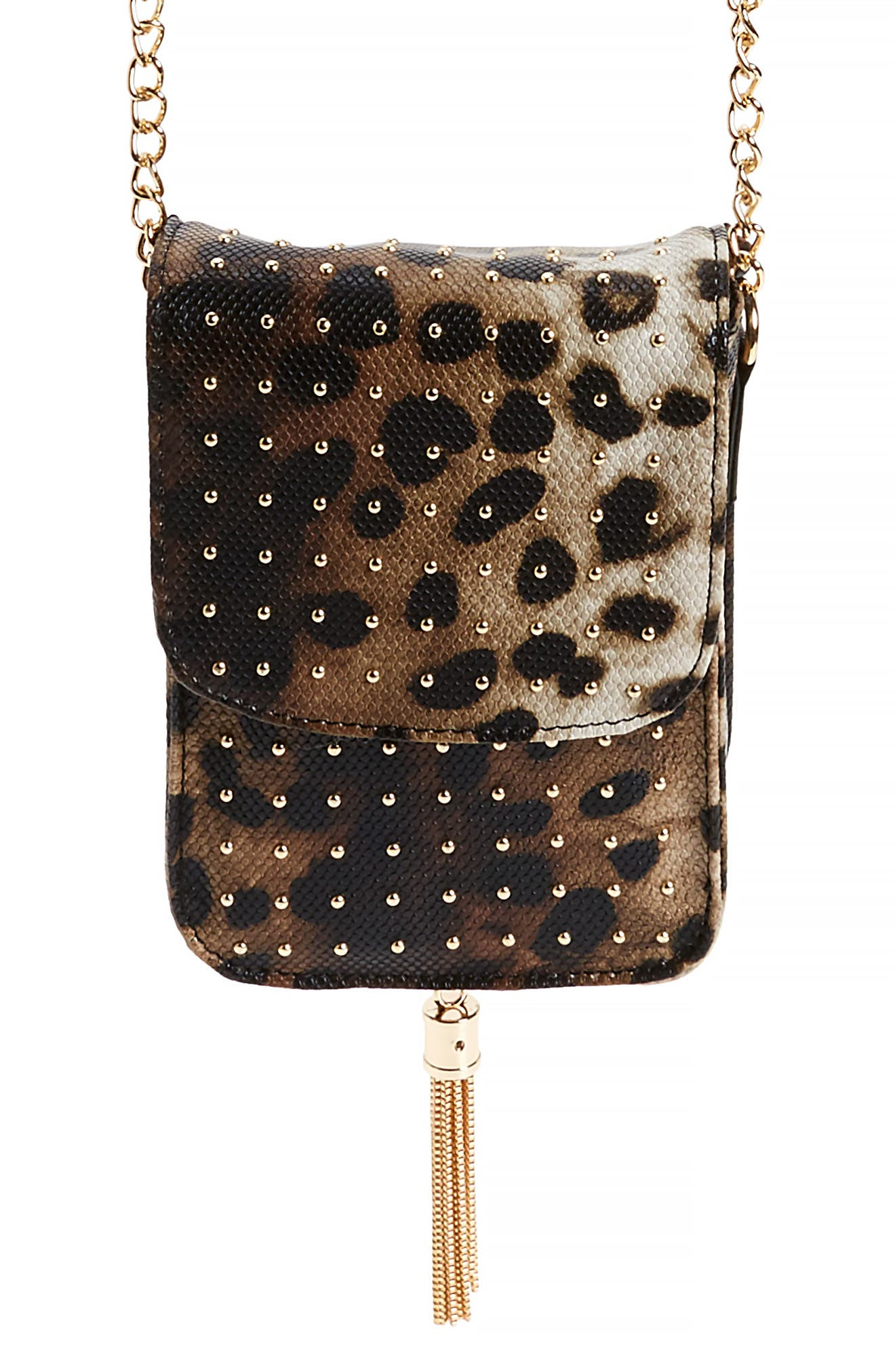 AMICI ACCESSORIES Leopard Print Faux Leather Phone Crossbody Bag