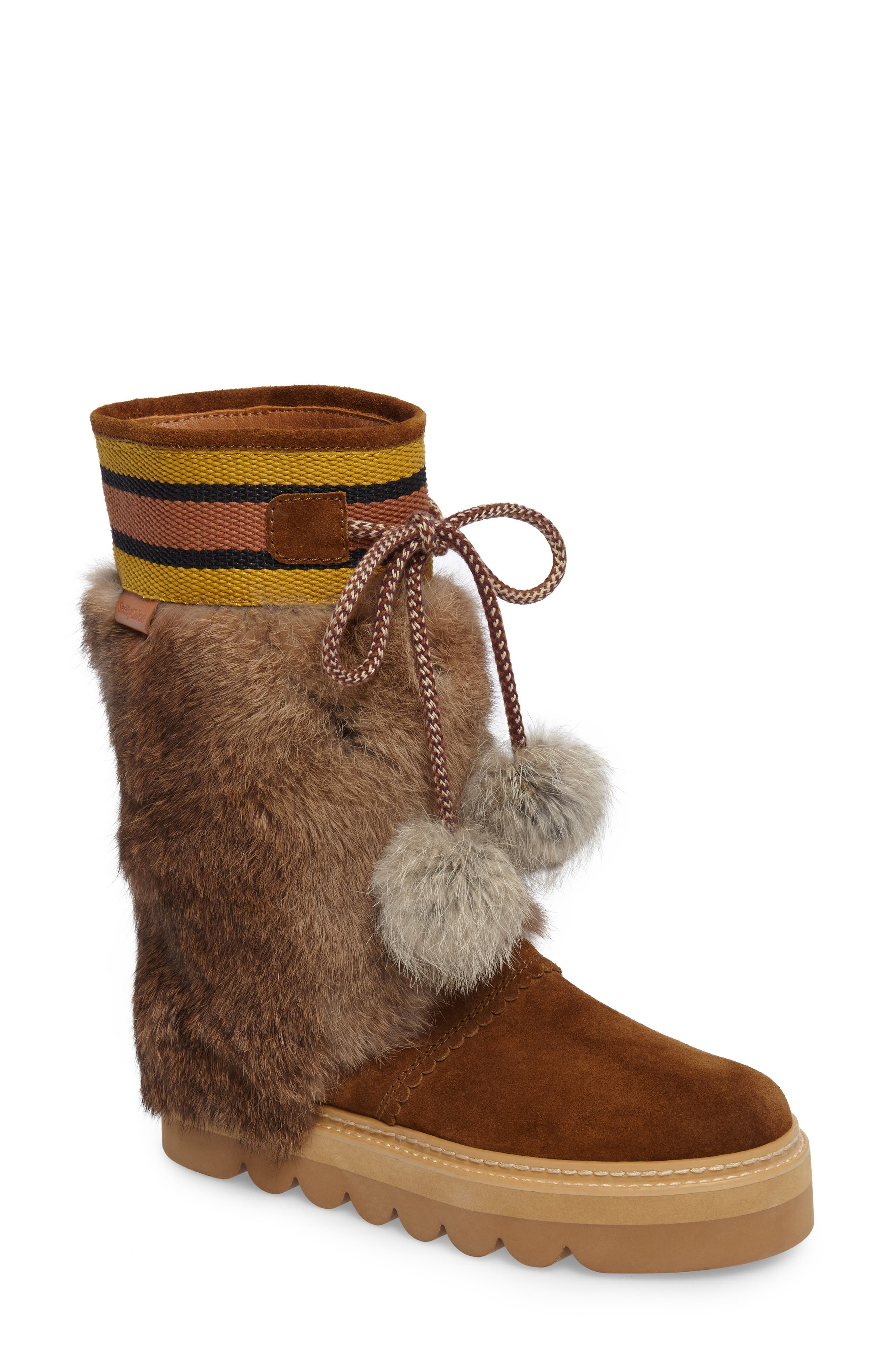 See by Chloé Oxana Genuine Rabbit Fur Boot (Women)