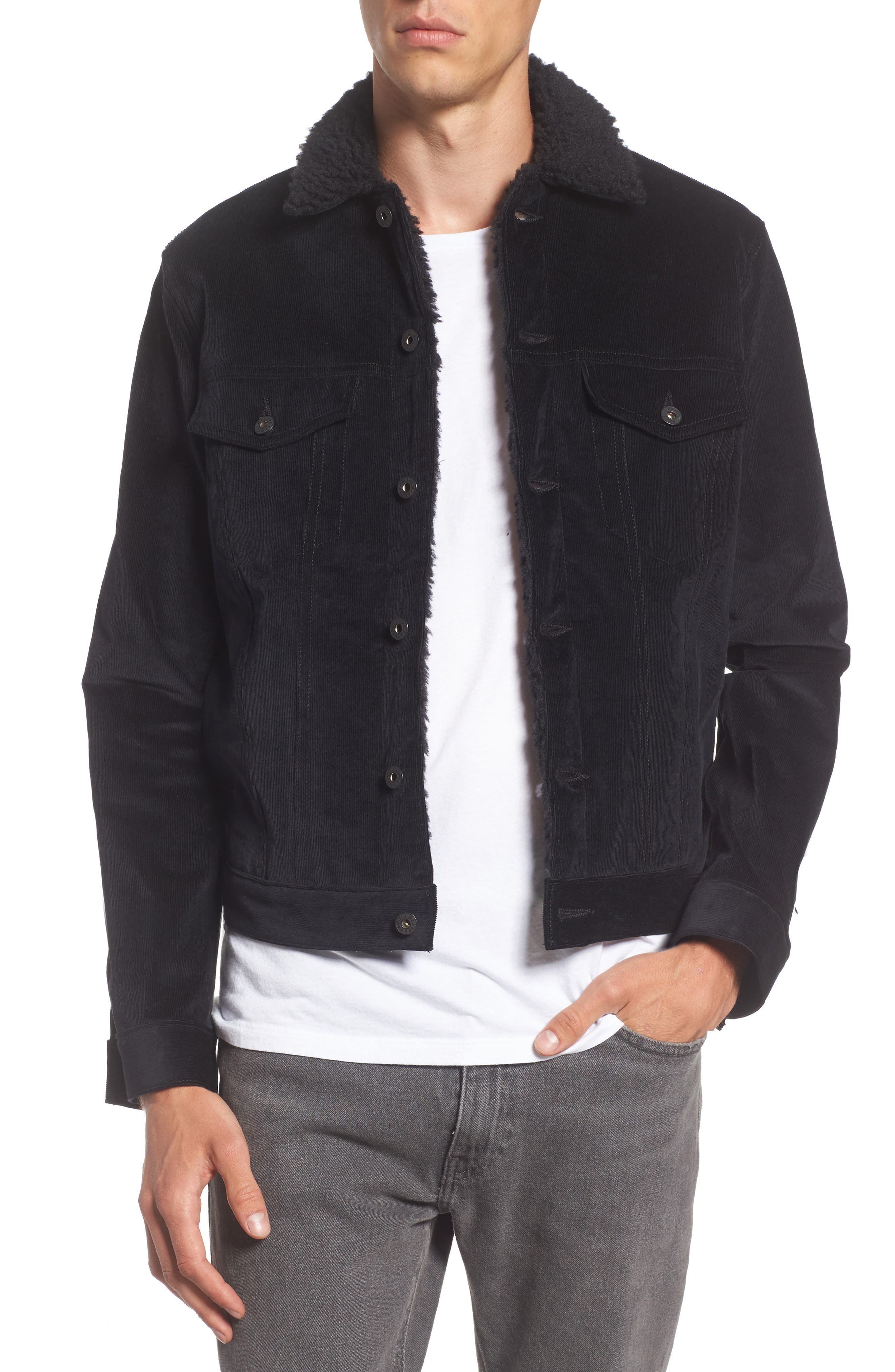 Corduroy Jacket with Faux Shearling Trim,                         Main,                         color, Black