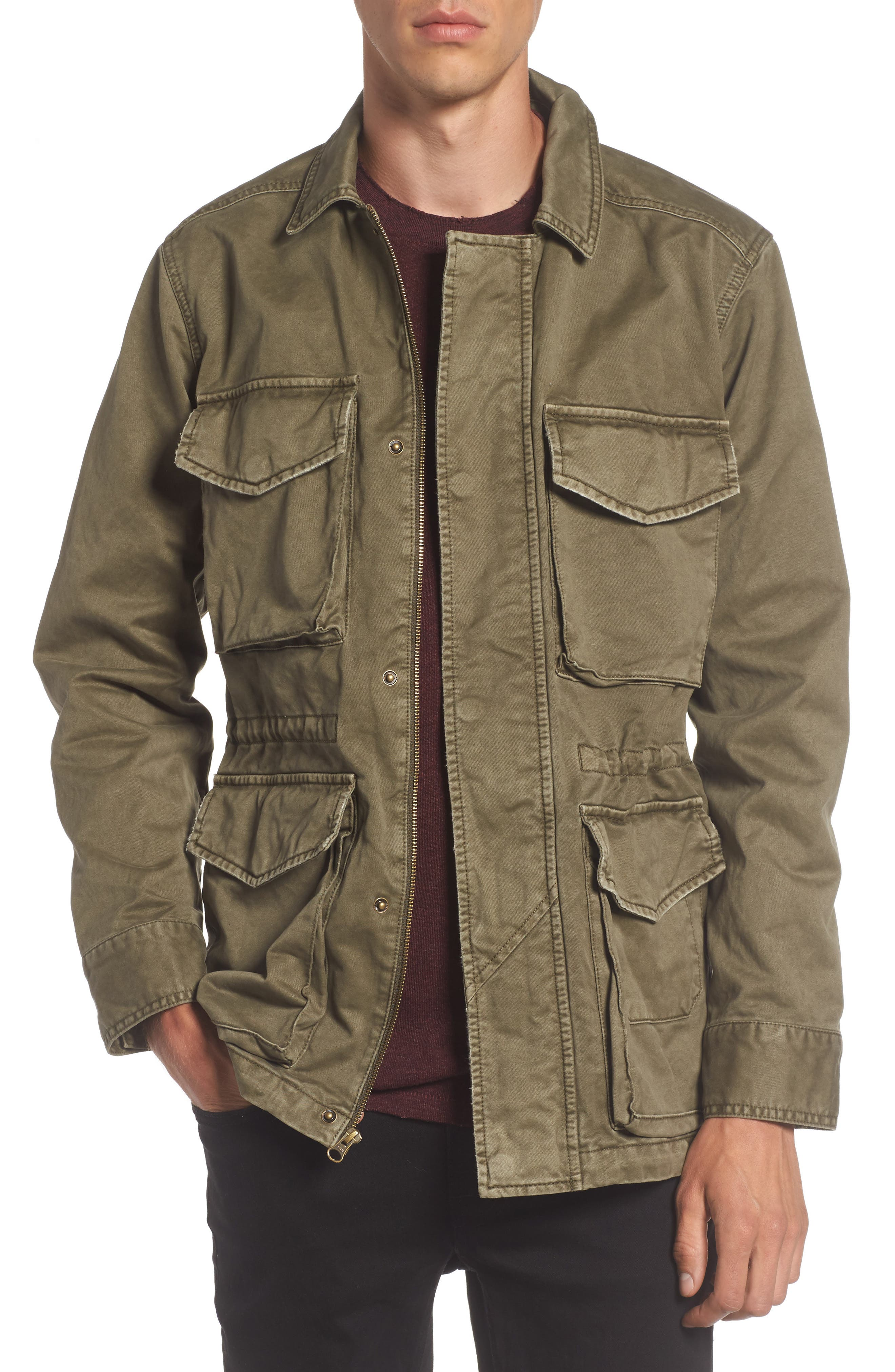 Waxed Cotton Field Jacket,                             Main thumbnail 1, color,                             Olive Grove
