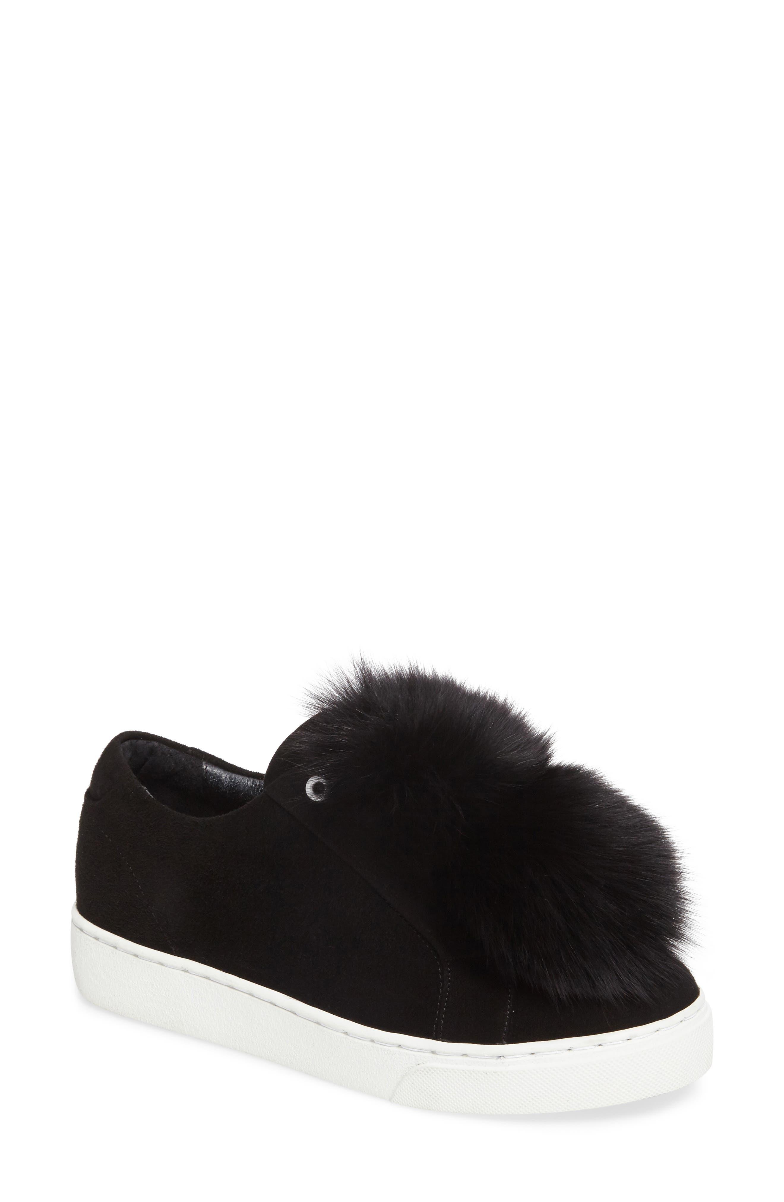 Raven Genuine Fox Fur Trim Sneaker,                             Main thumbnail 1, color,                             Black Suede