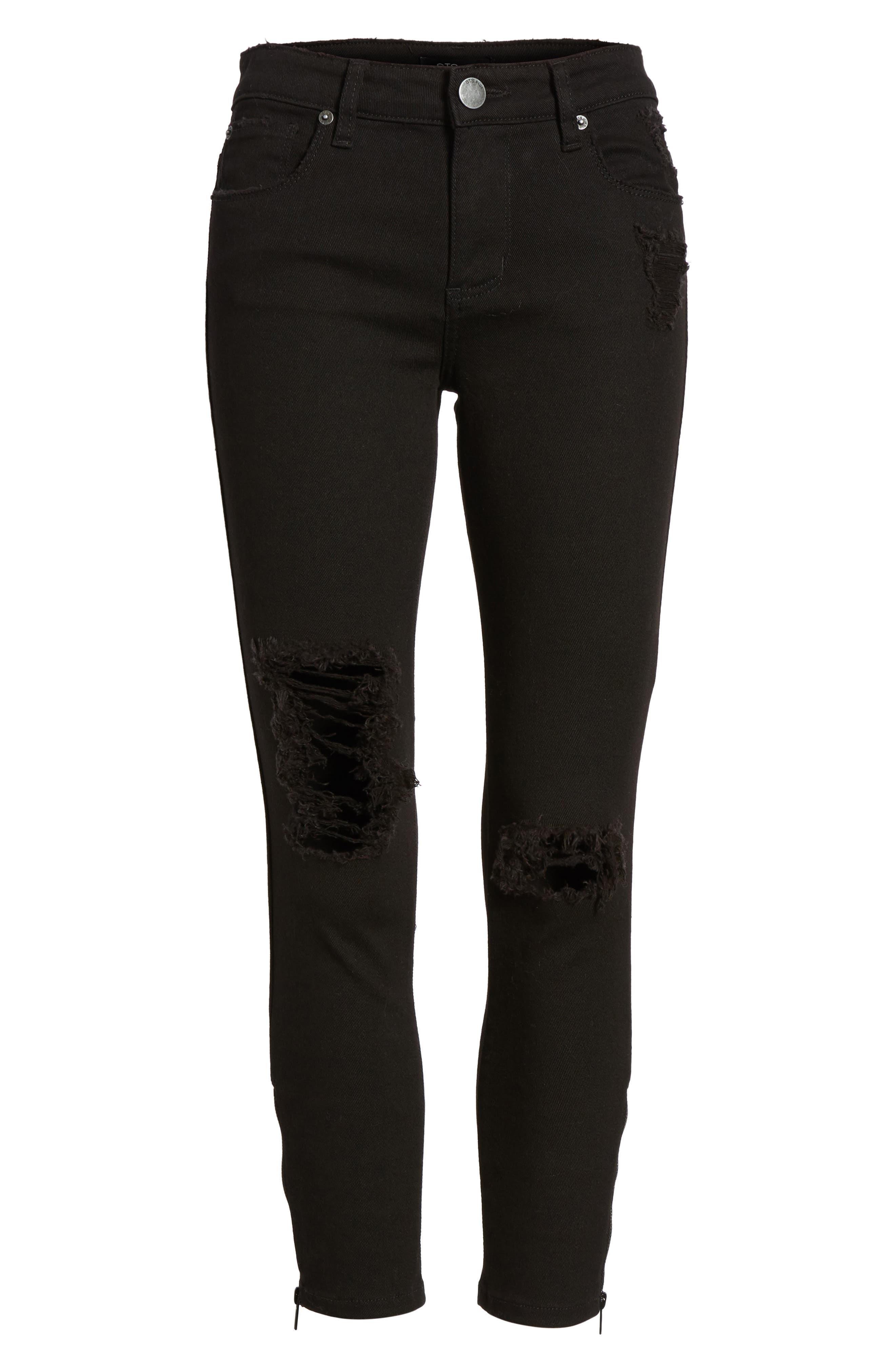 Emma Side Zip Skinny Jeans,                             Alternate thumbnail 6, color,                             Black