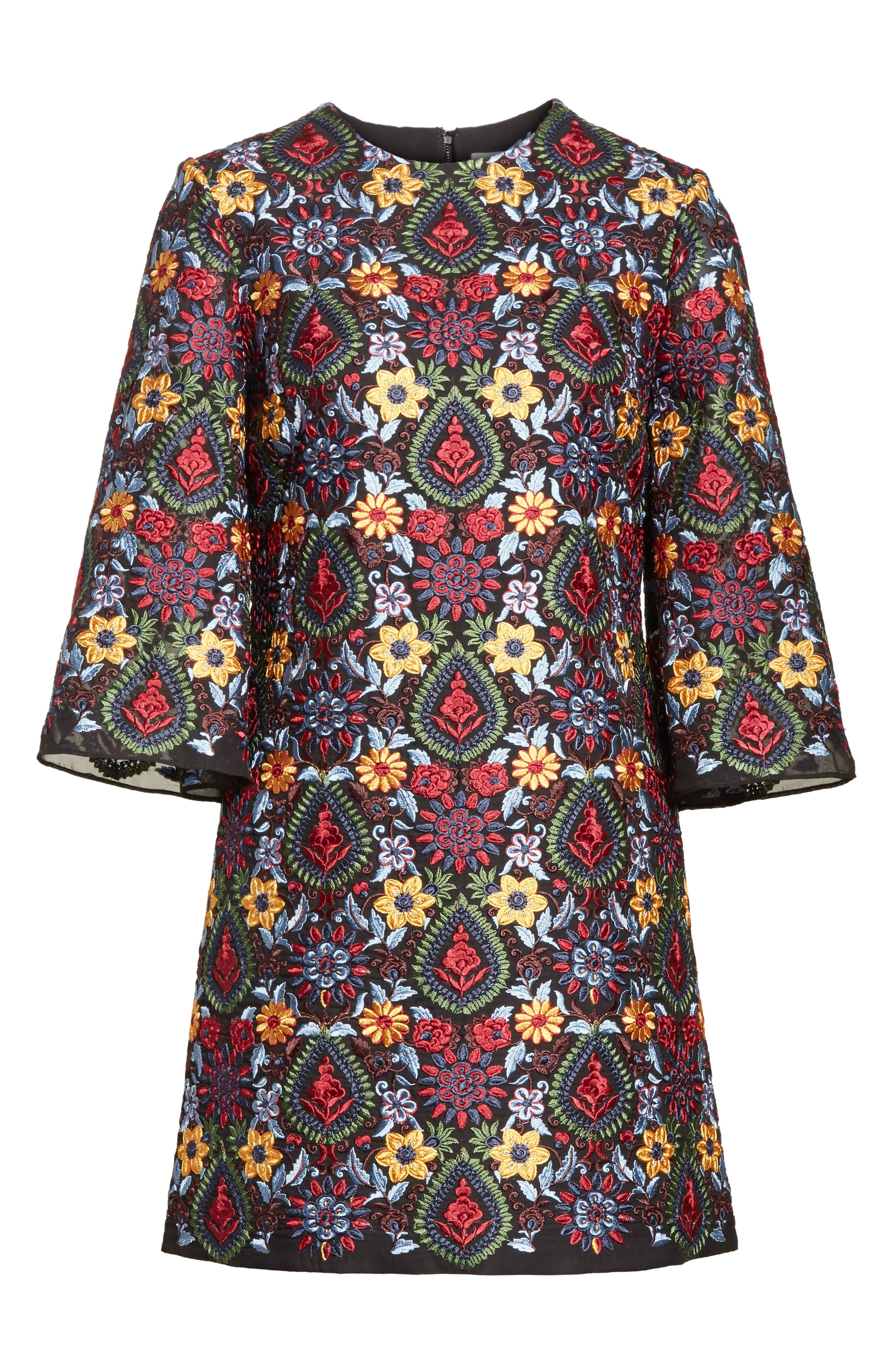 Coley Embroidered Bell Sleeve Dress,                             Alternate thumbnail 6, color,                             Black Multi