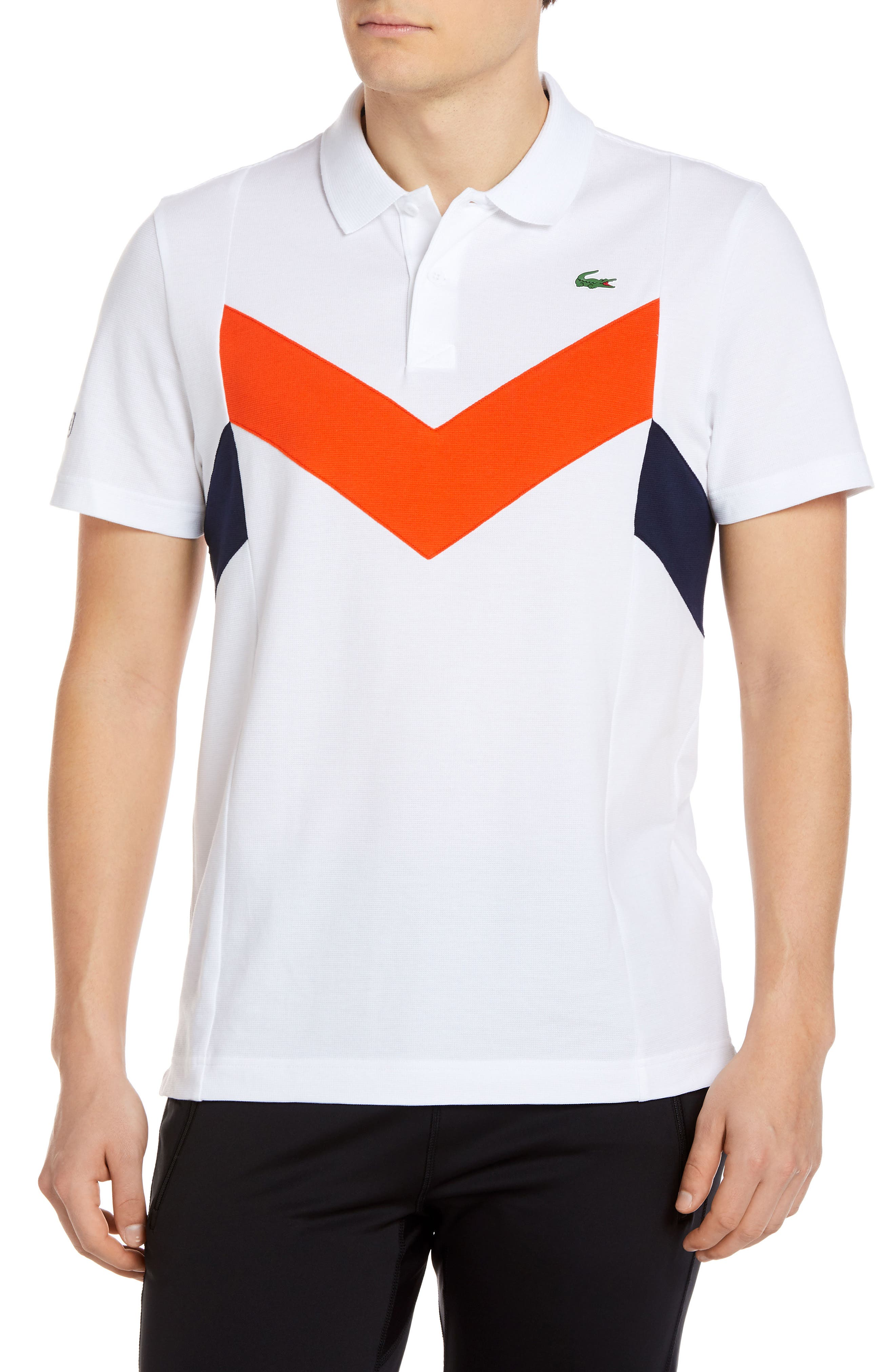 Chevron Colorblocked Polo,                             Main thumbnail 1, color,                             Kfp White/ Mexico Red-Navy Blu