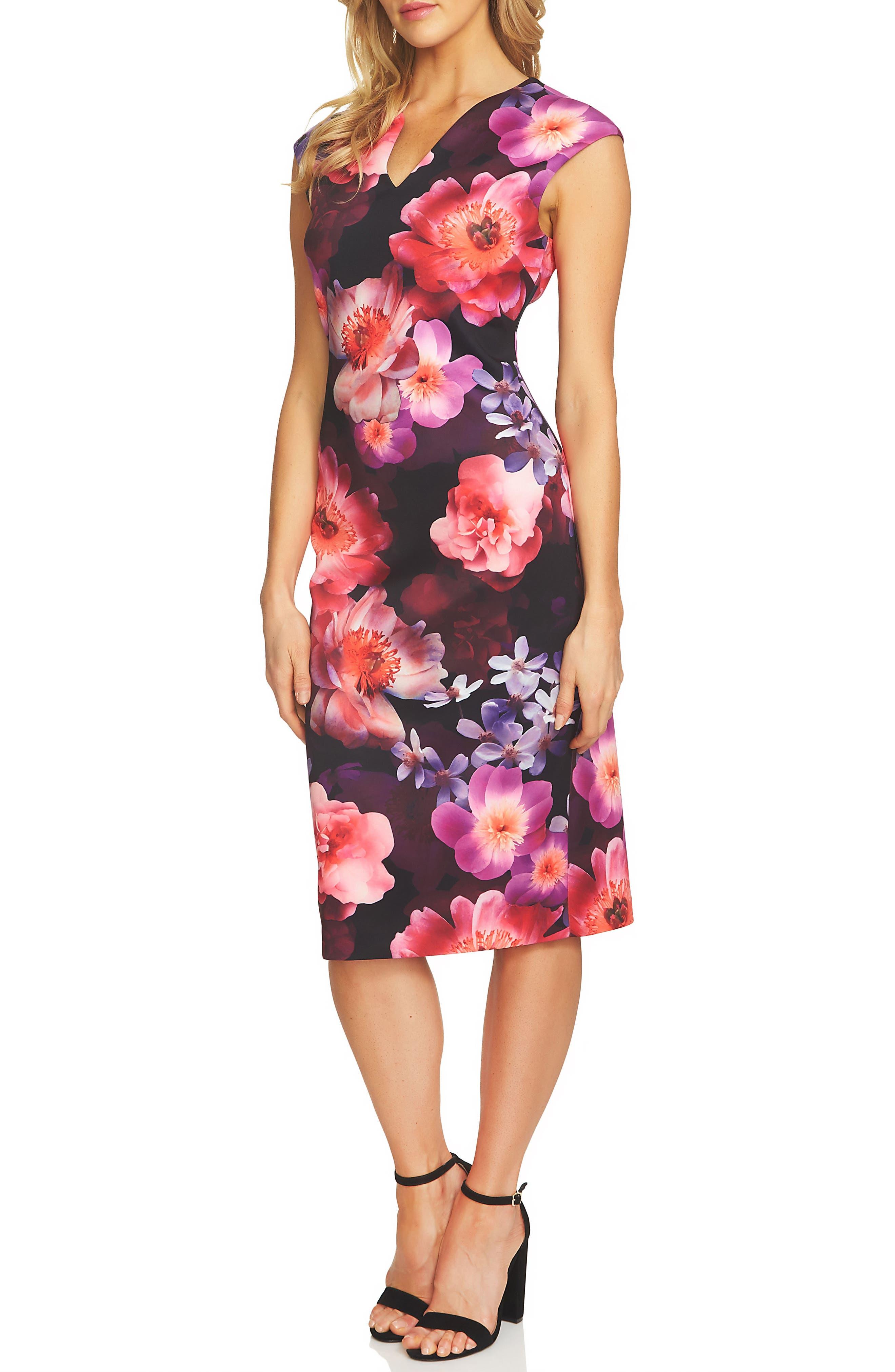 Floral Scuba Sheath Dress,                         Main,                         color, Vibrant Cerise