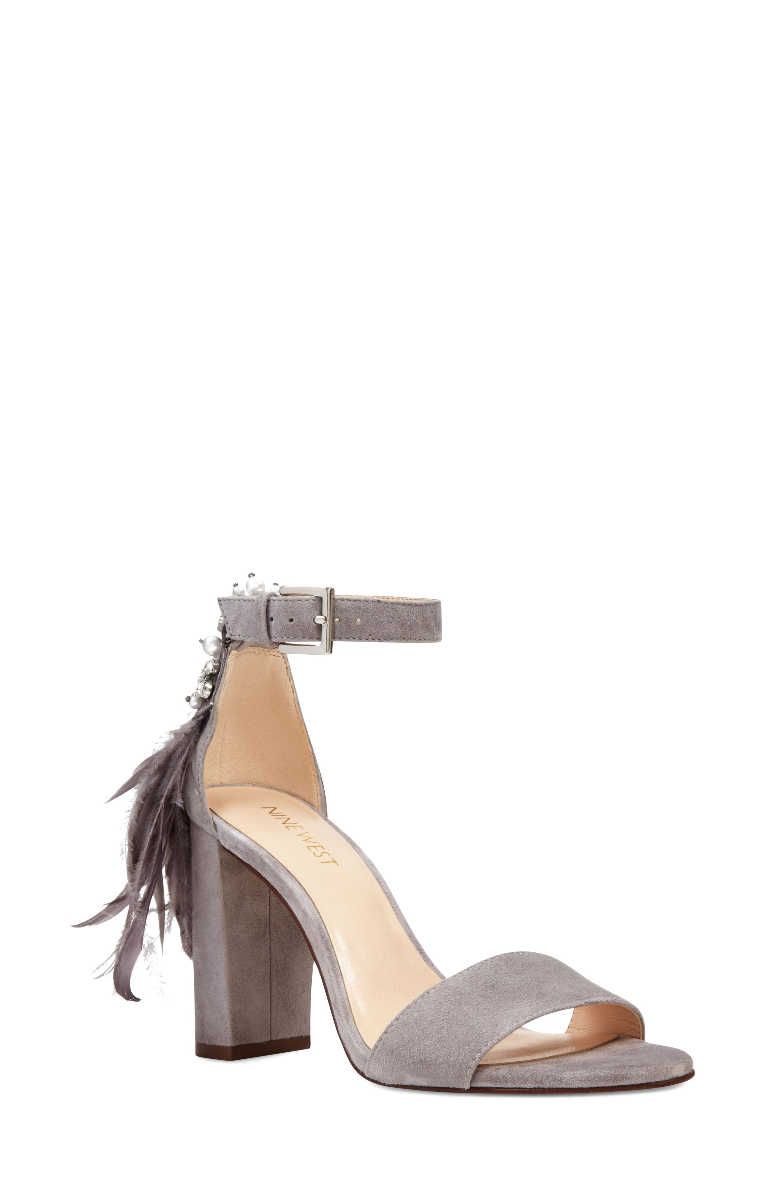 Aaronita Feather Block Heel Sandal,                             Main thumbnail 1, color,                             Grey Suede