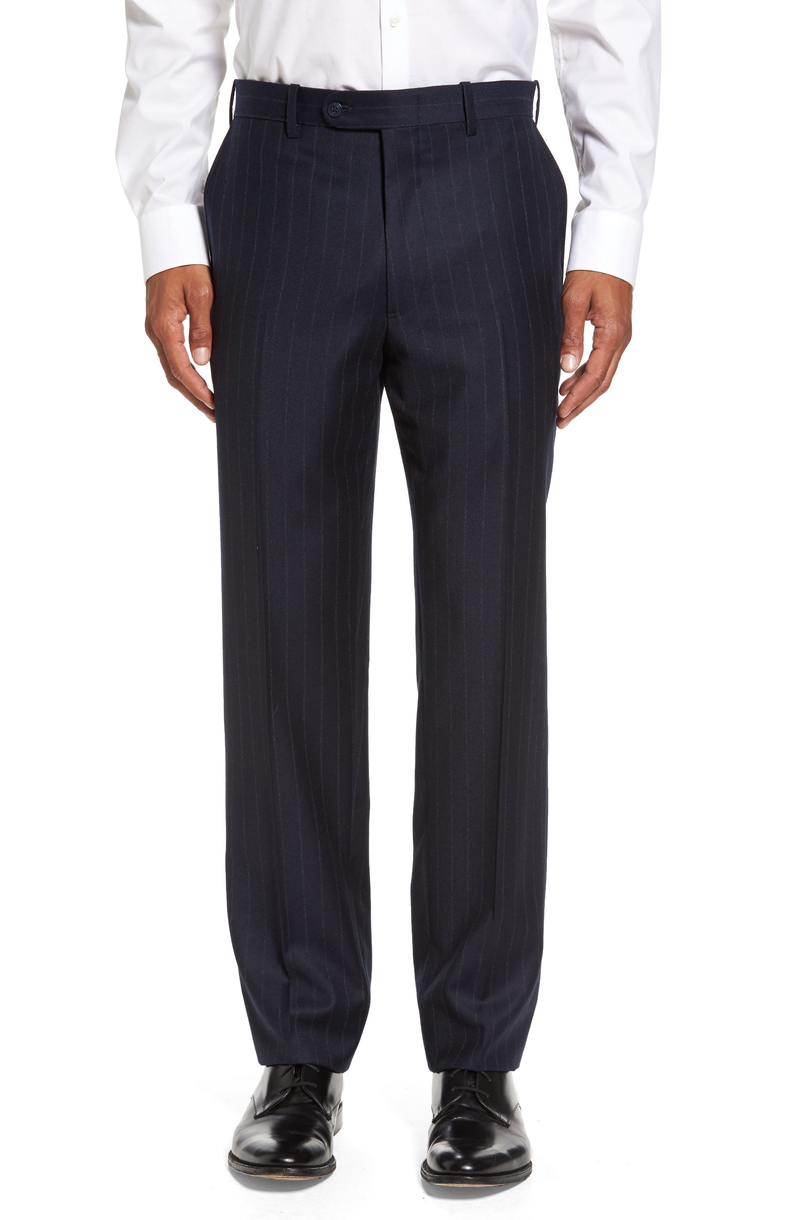 Flat Front Chalk Stripe Wool Trousers,                         Main,                         color, Navy