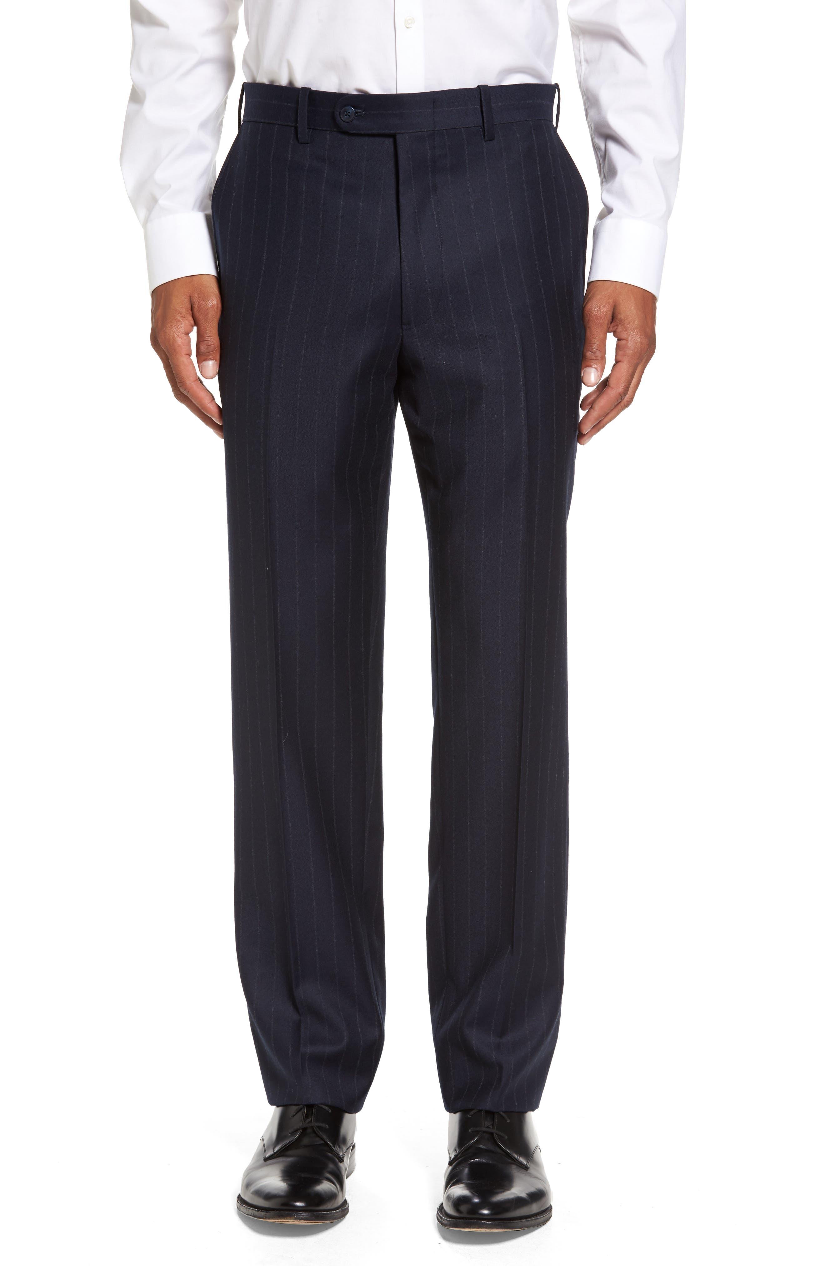 JB Britches Flat Front Chalk Stripe Wool Trousers