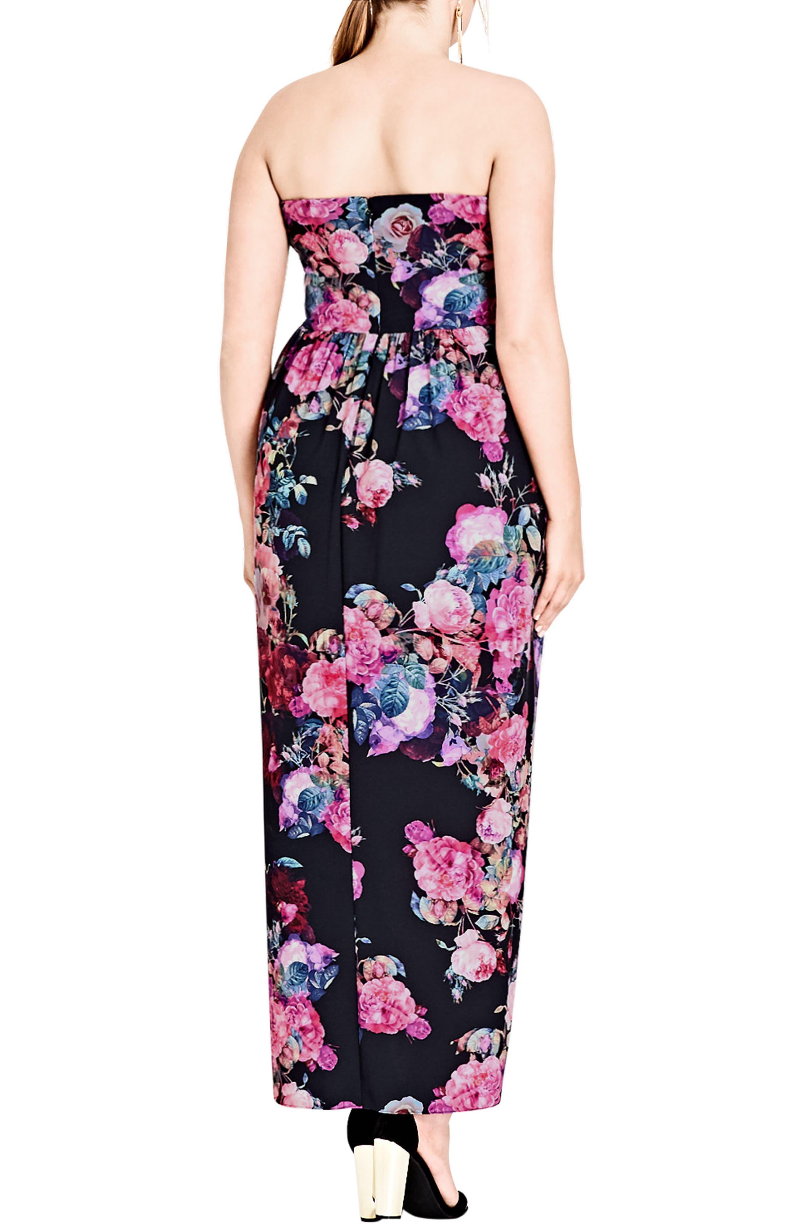 Alternate Image 2  - City Chic Romantic Rose Strapless Maxi Dress (Plus Size)