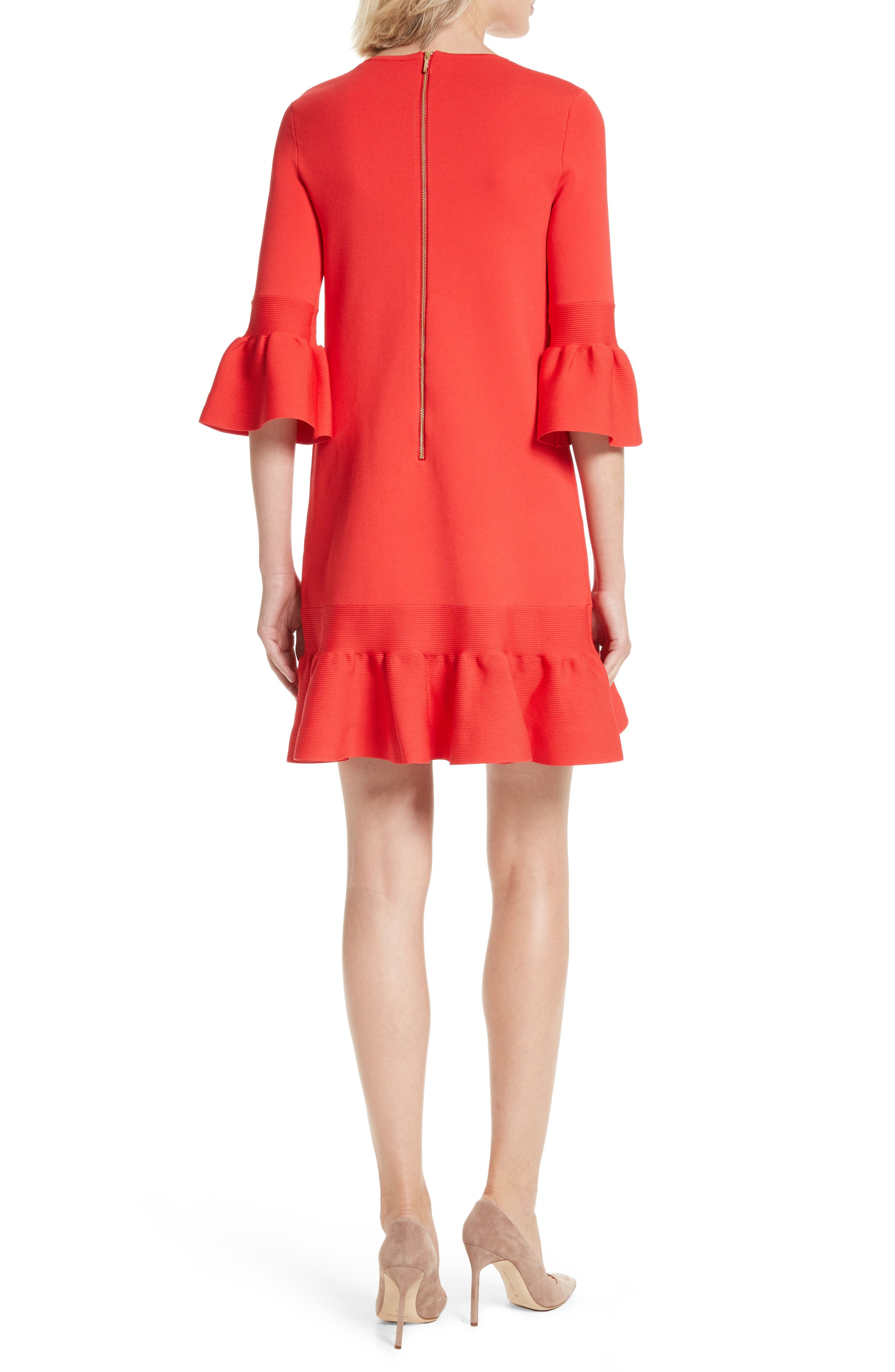 Tynia Peplum Ruffle Shift Dress,                             Alternate thumbnail 2, color,                             Bright Red