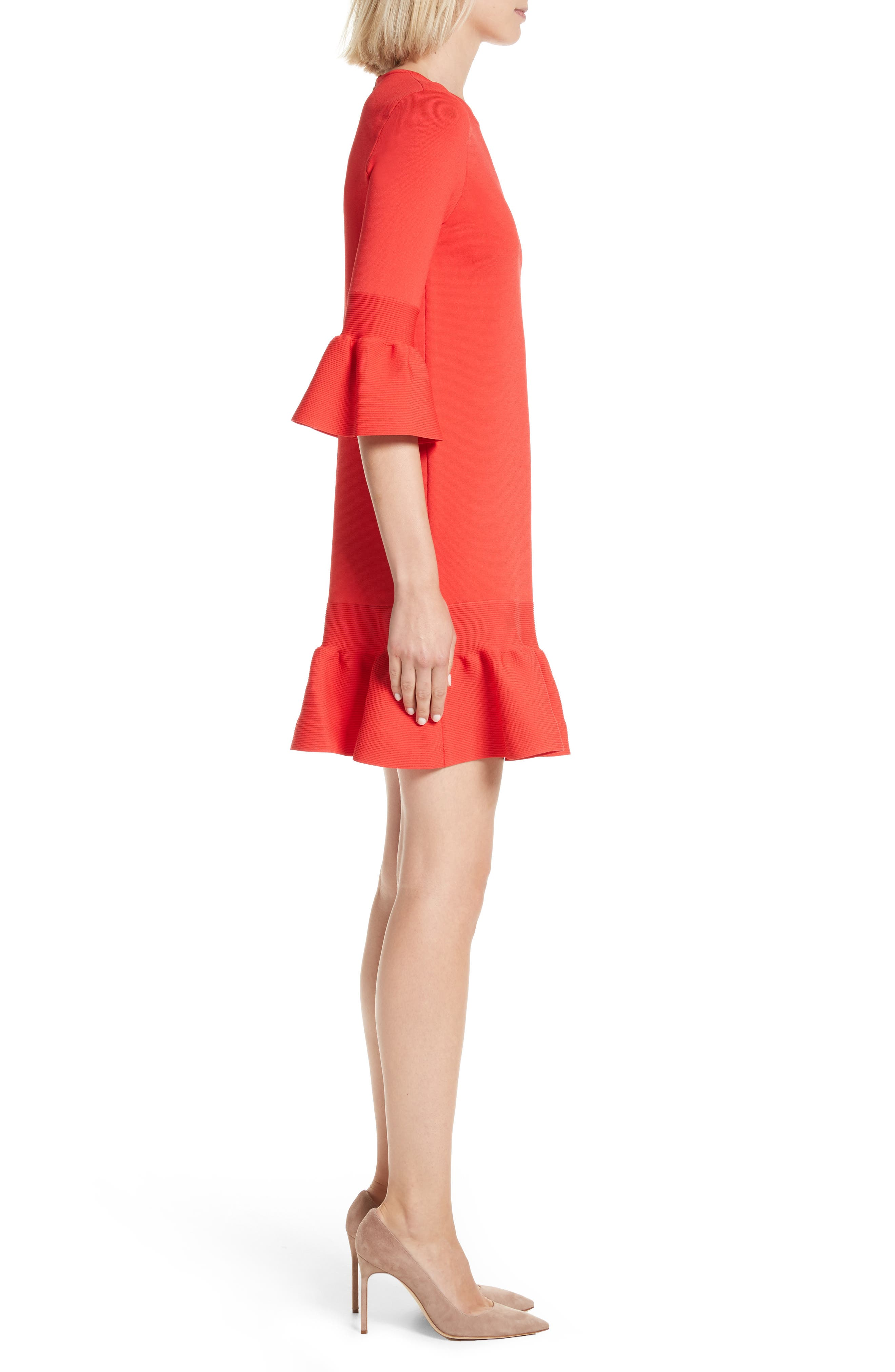 Tynia Peplum Ruffle Shift Dress,                             Alternate thumbnail 3, color,                             Bright Red
