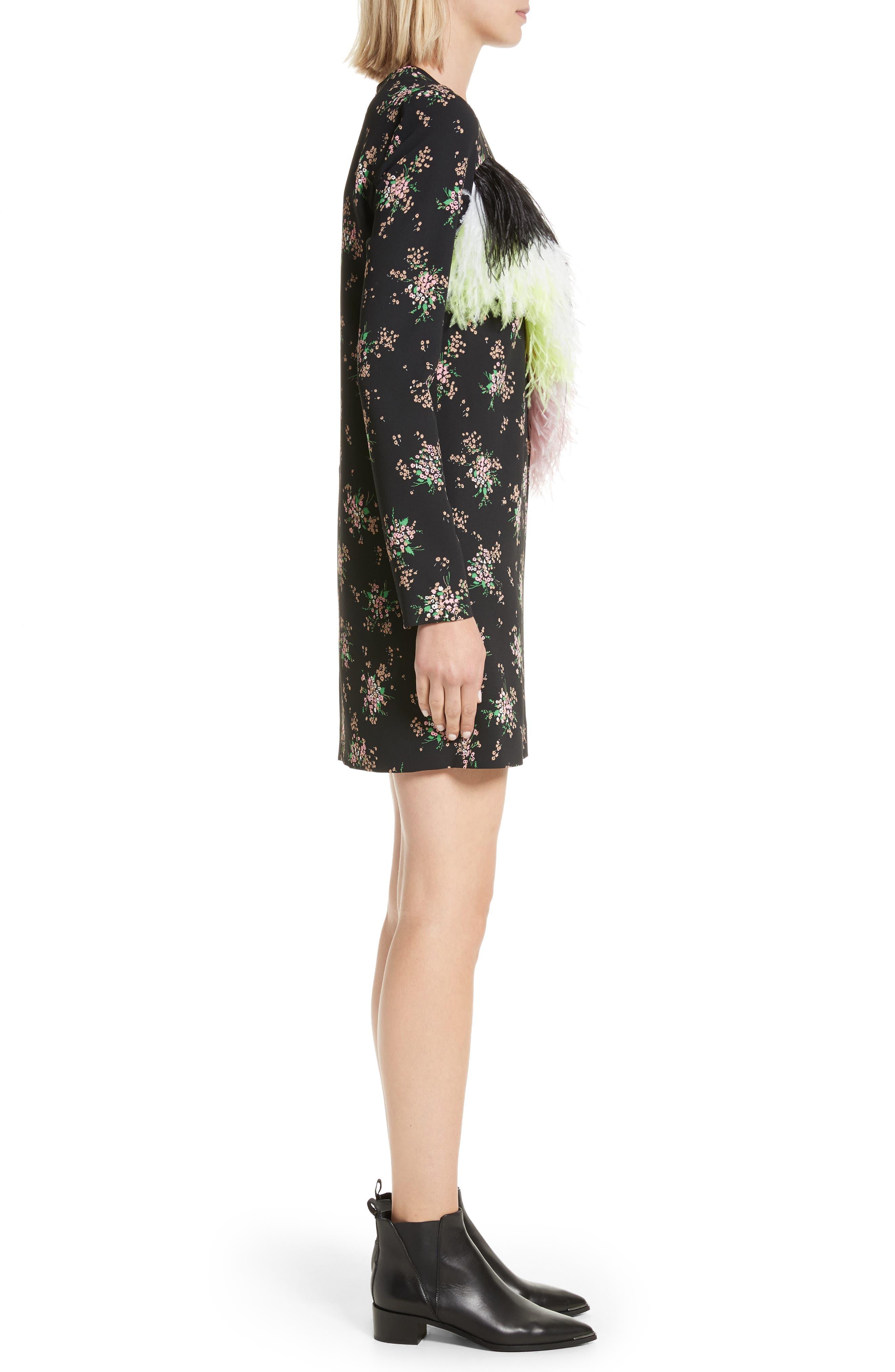 Ostrich Feather Trim Floral Print Dress,                             Alternate thumbnail 3, color,                             Black