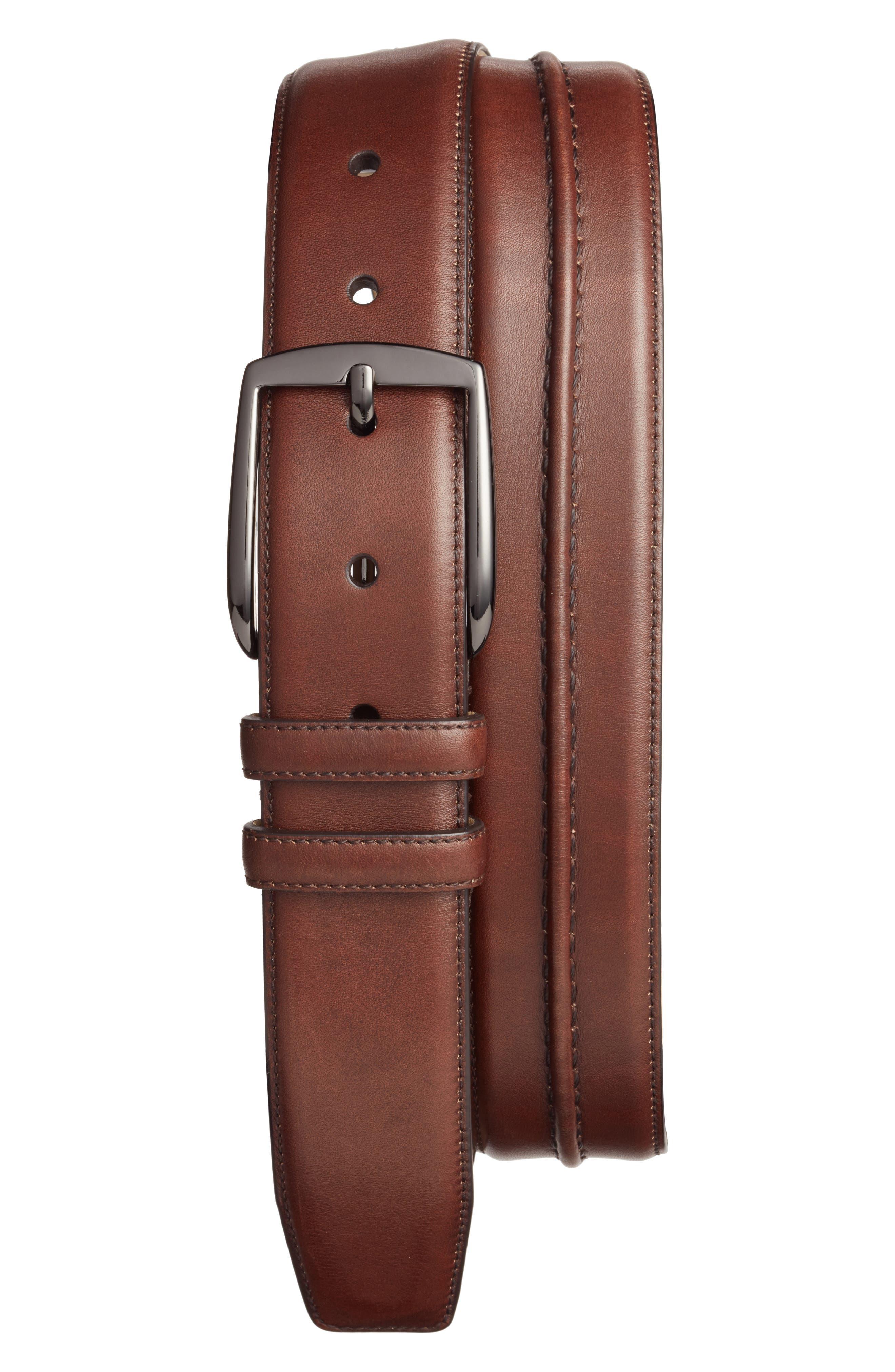 Naxos Leather Belt,                         Main,                         color, Brown