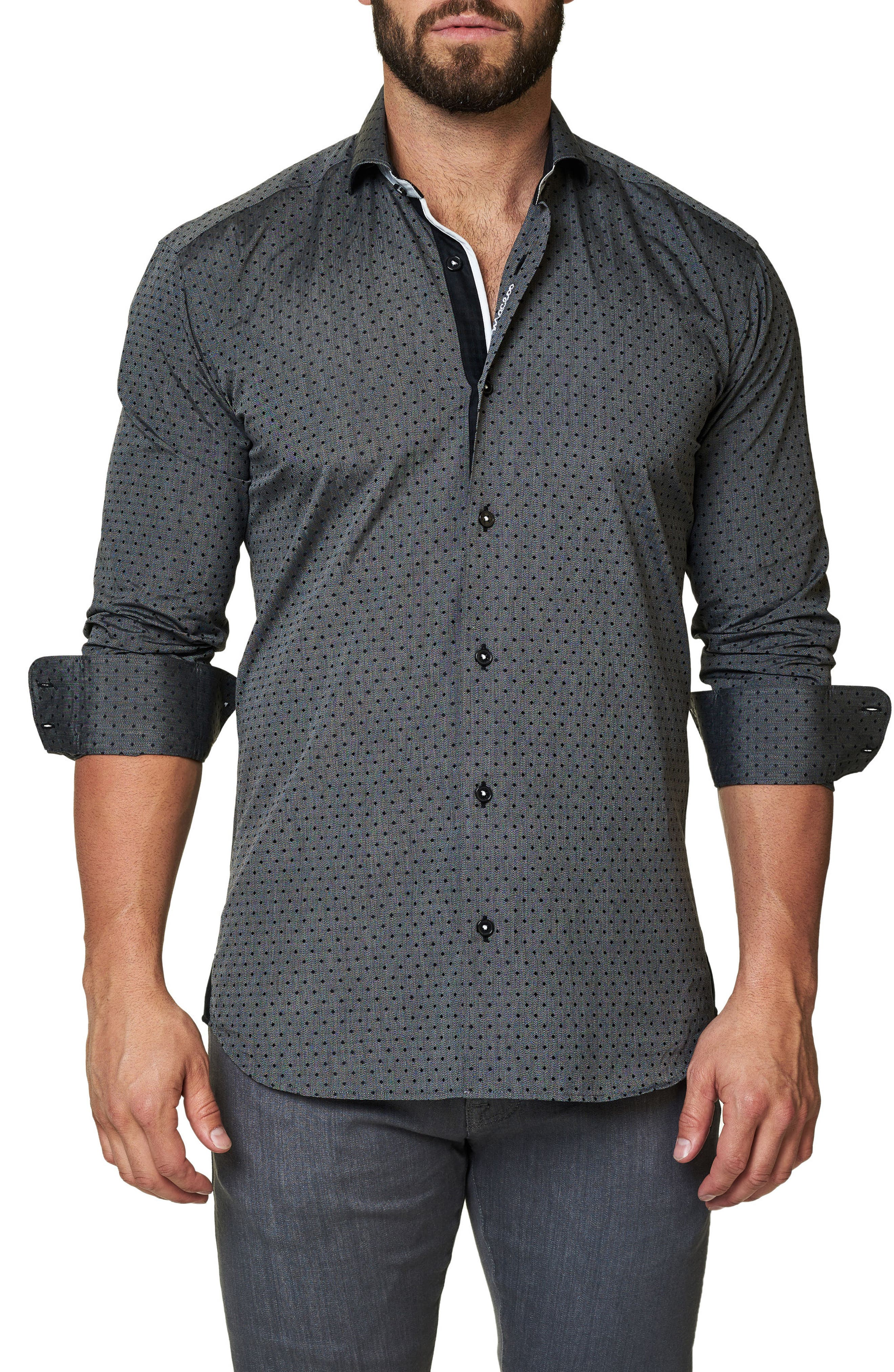Trim Fit Dot Print Sport Shirt,                             Main thumbnail 1, color,                             Black