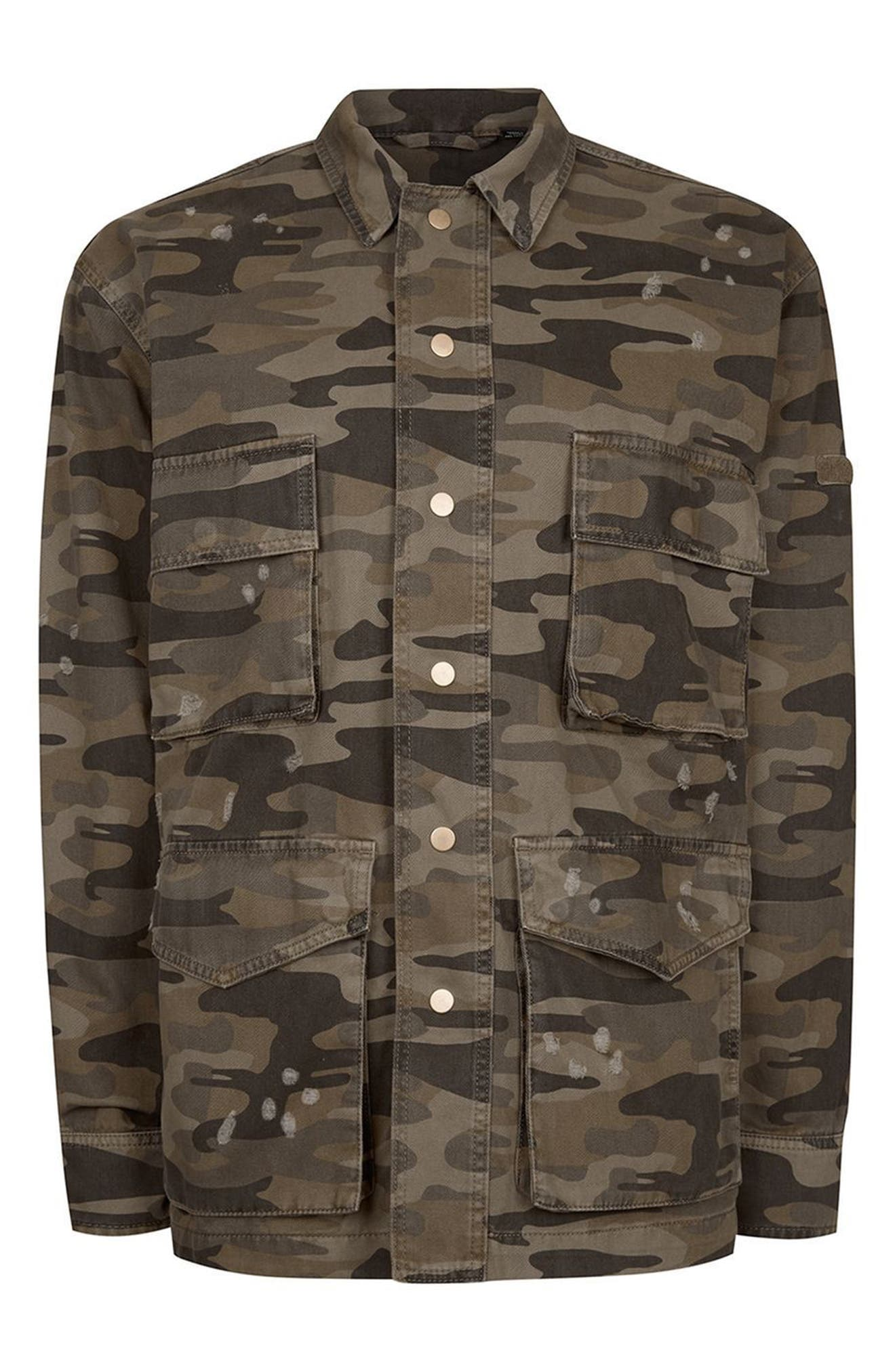 AAA Collection Distressed Camo Field Jacket,                             Alternate thumbnail 4, color,                             Green Multi