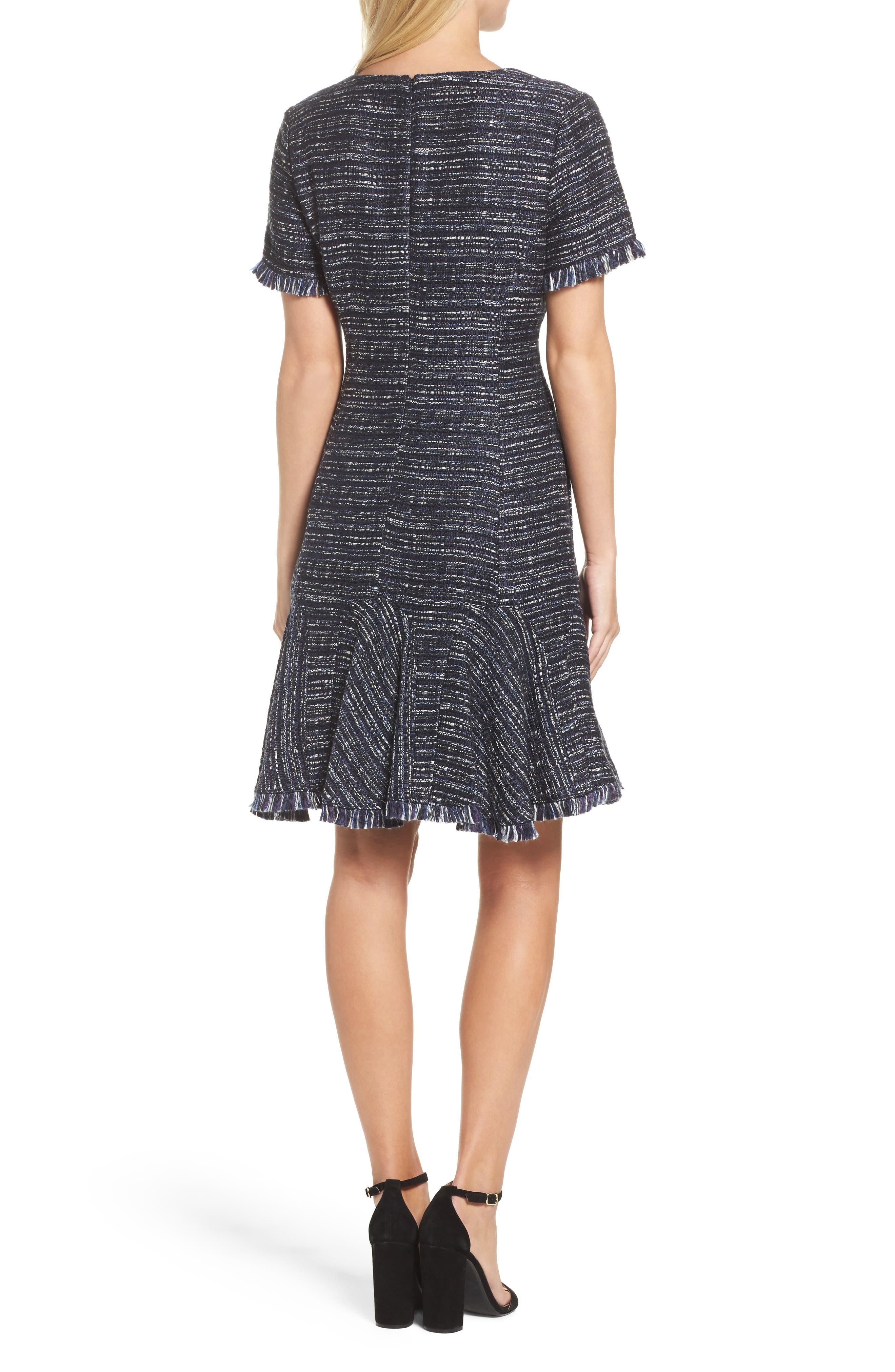 Short Sleeve Fit & Flare Dress,                             Alternate thumbnail 2, color,                             Navy
