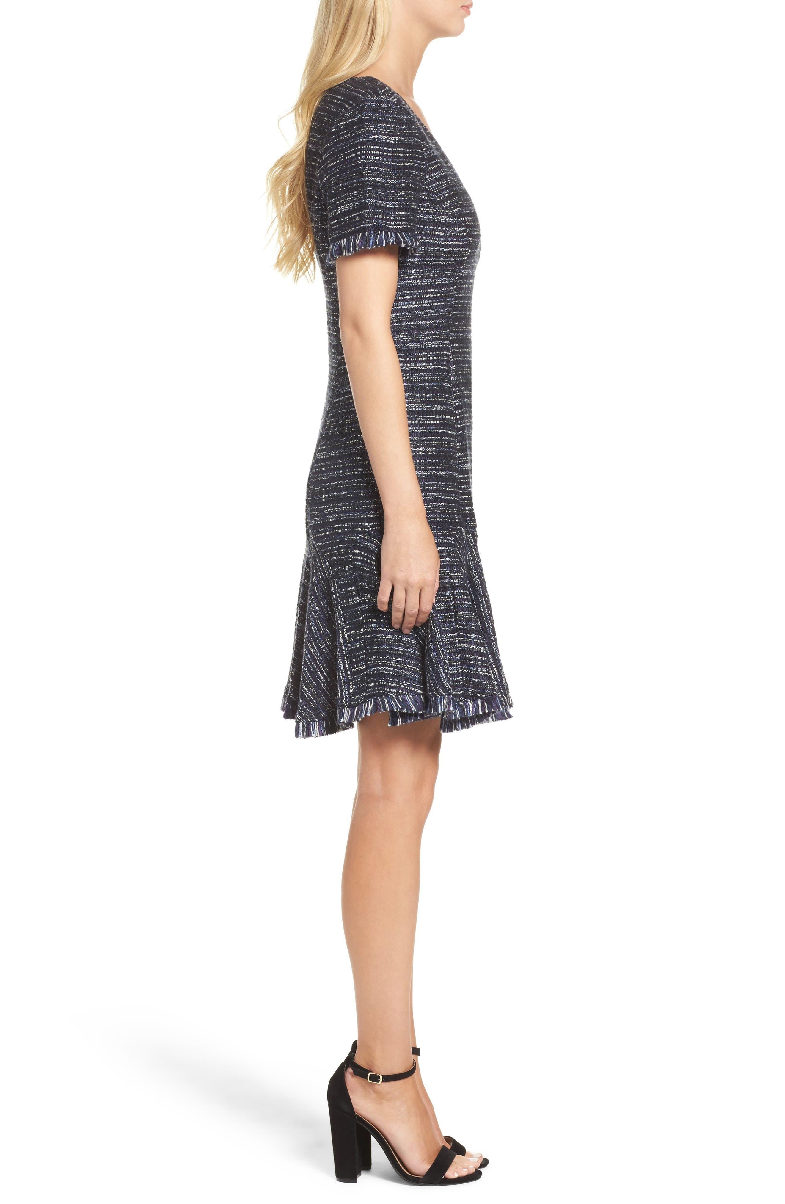 Short Sleeve Fit & Flare Dress,                             Alternate thumbnail 3, color,                             Navy