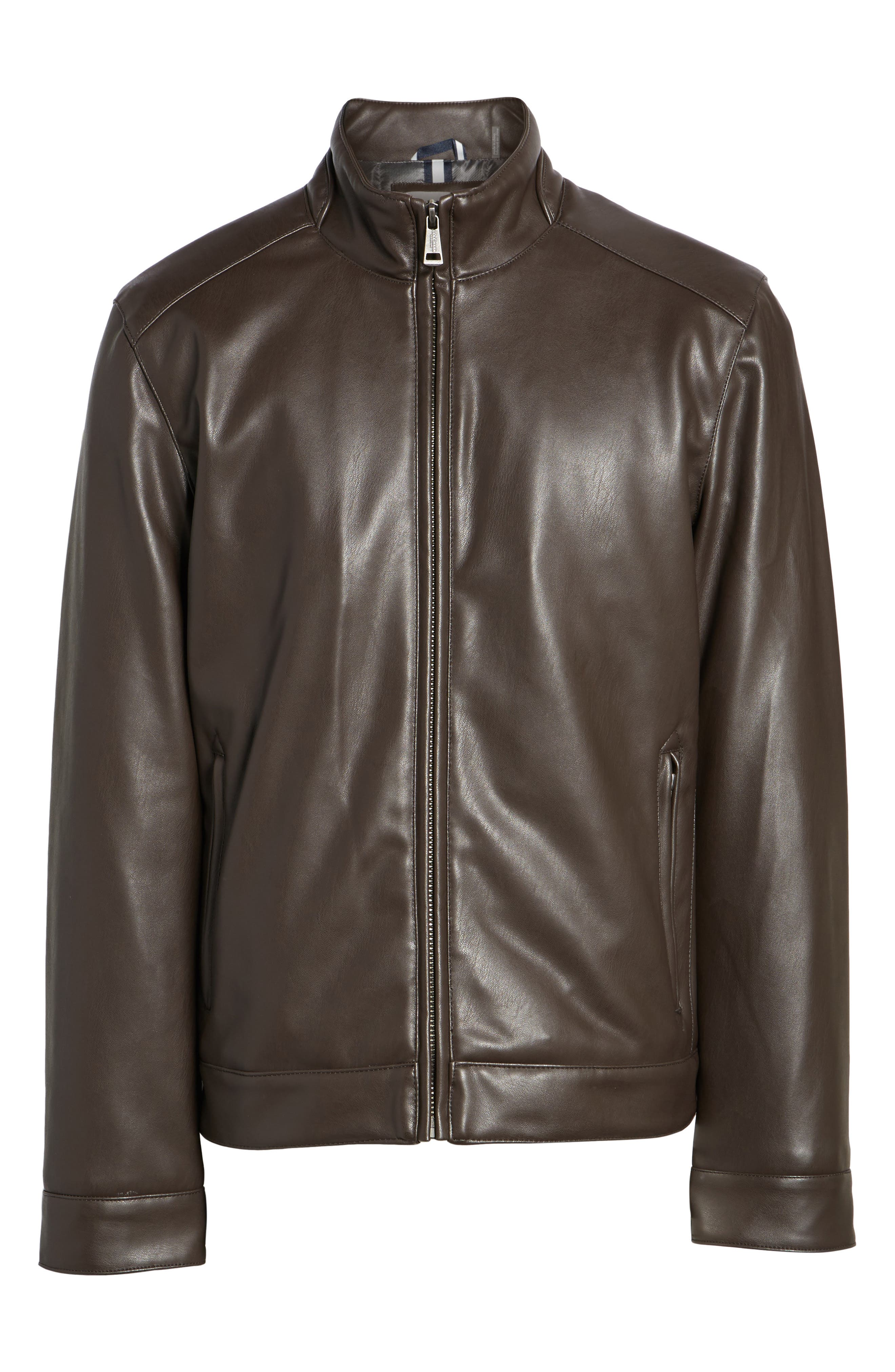 Faux Leather Jacket,                             Main thumbnail 1, color,                             Dark Brown