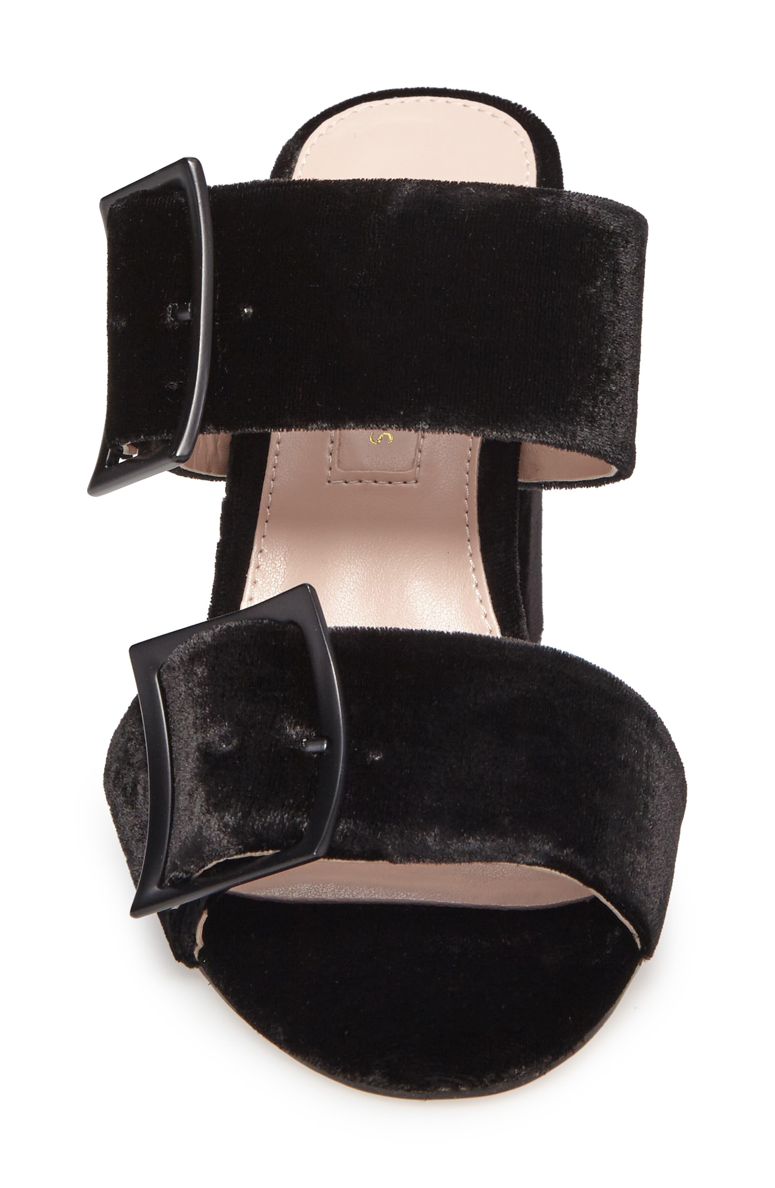 Millie Buckle Strap Sandal,                             Alternate thumbnail 4, color,                             Black Fabric