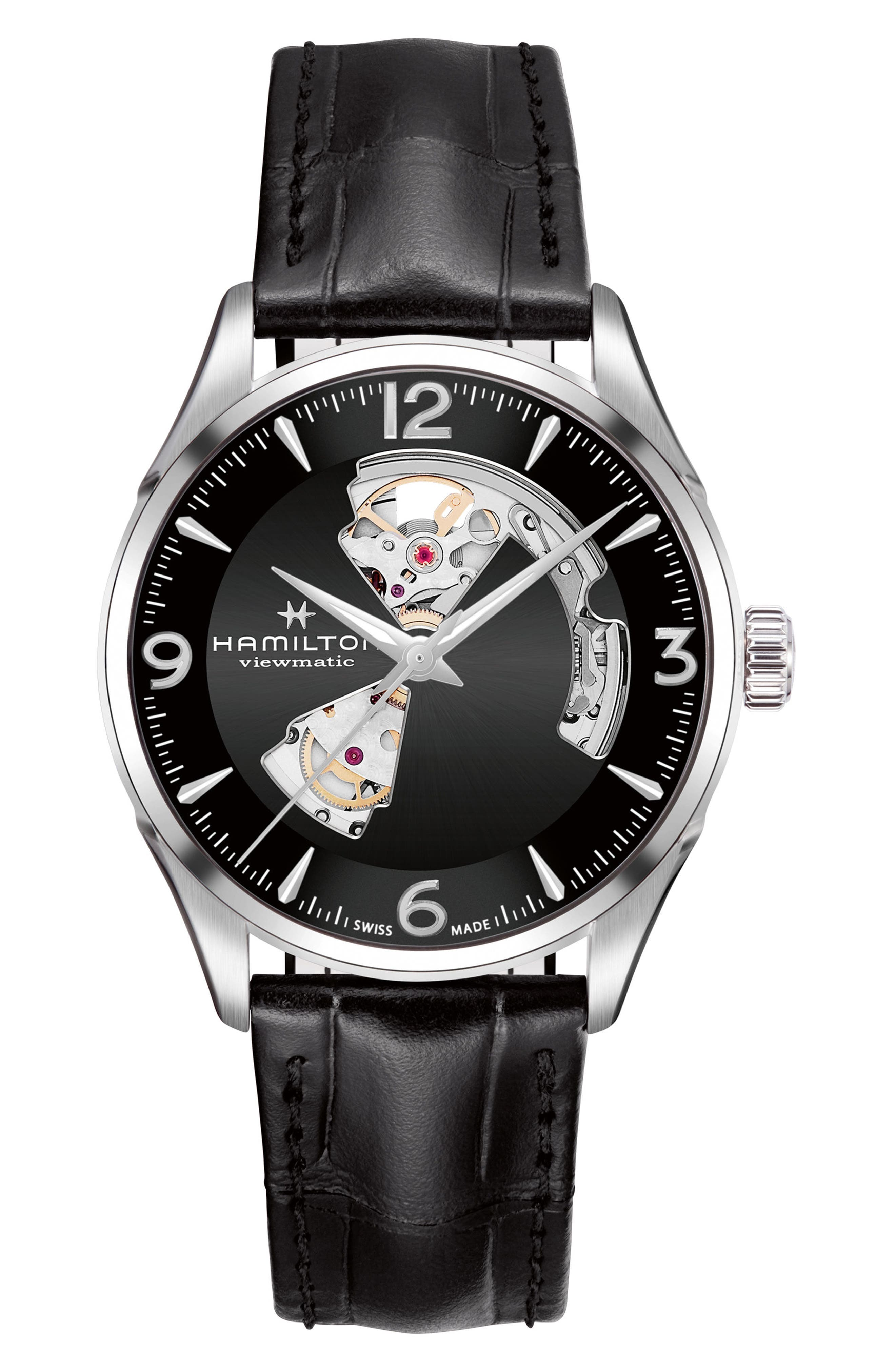 Jazzmaster Open Heart Automatic Leather Strap Watch, 42mm,                             Main thumbnail 1, color,                             Black/ Silver