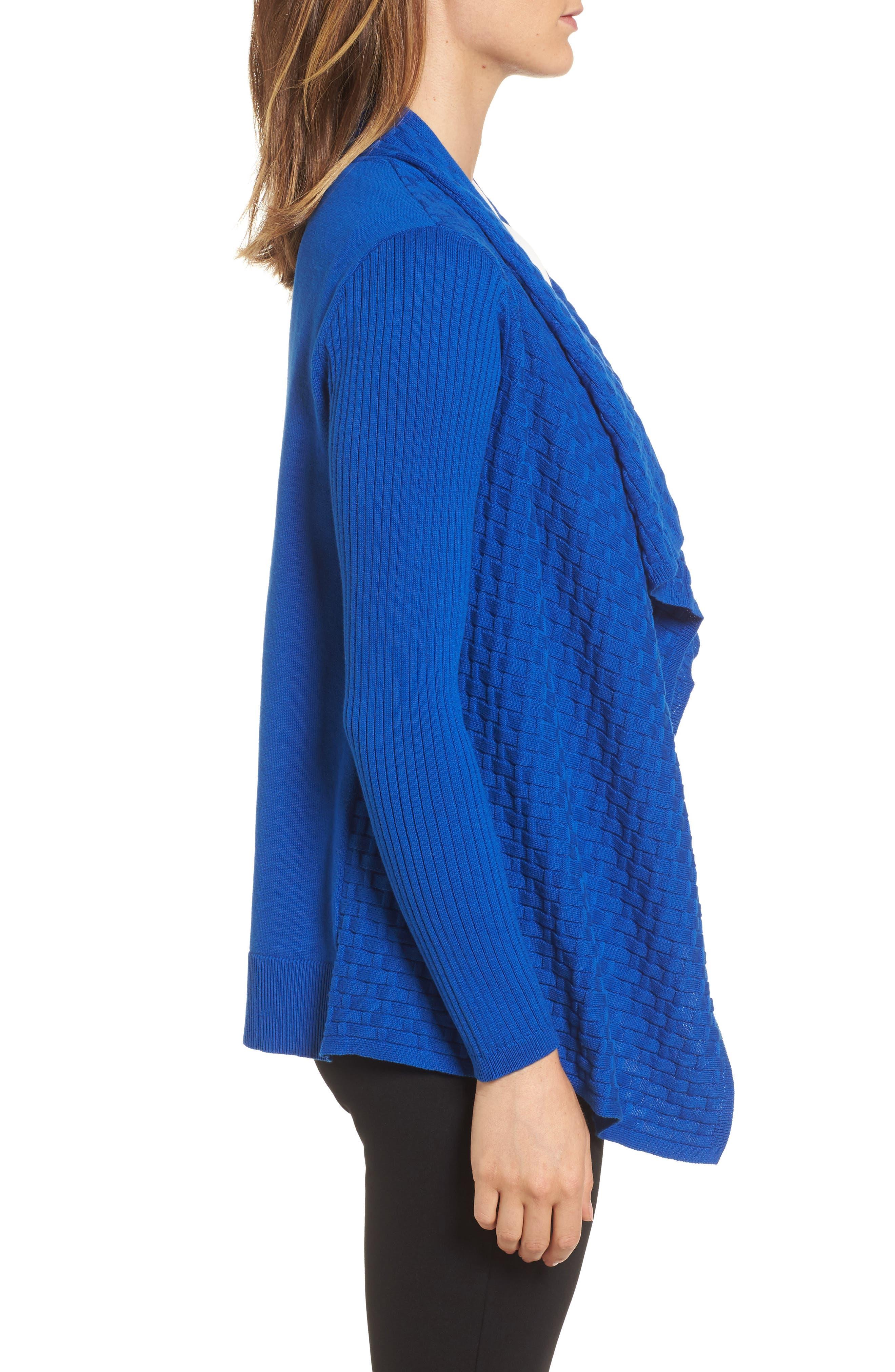Mixed Cotton Knit Cardigan,                             Alternate thumbnail 3, color,                             Royal Cobalt