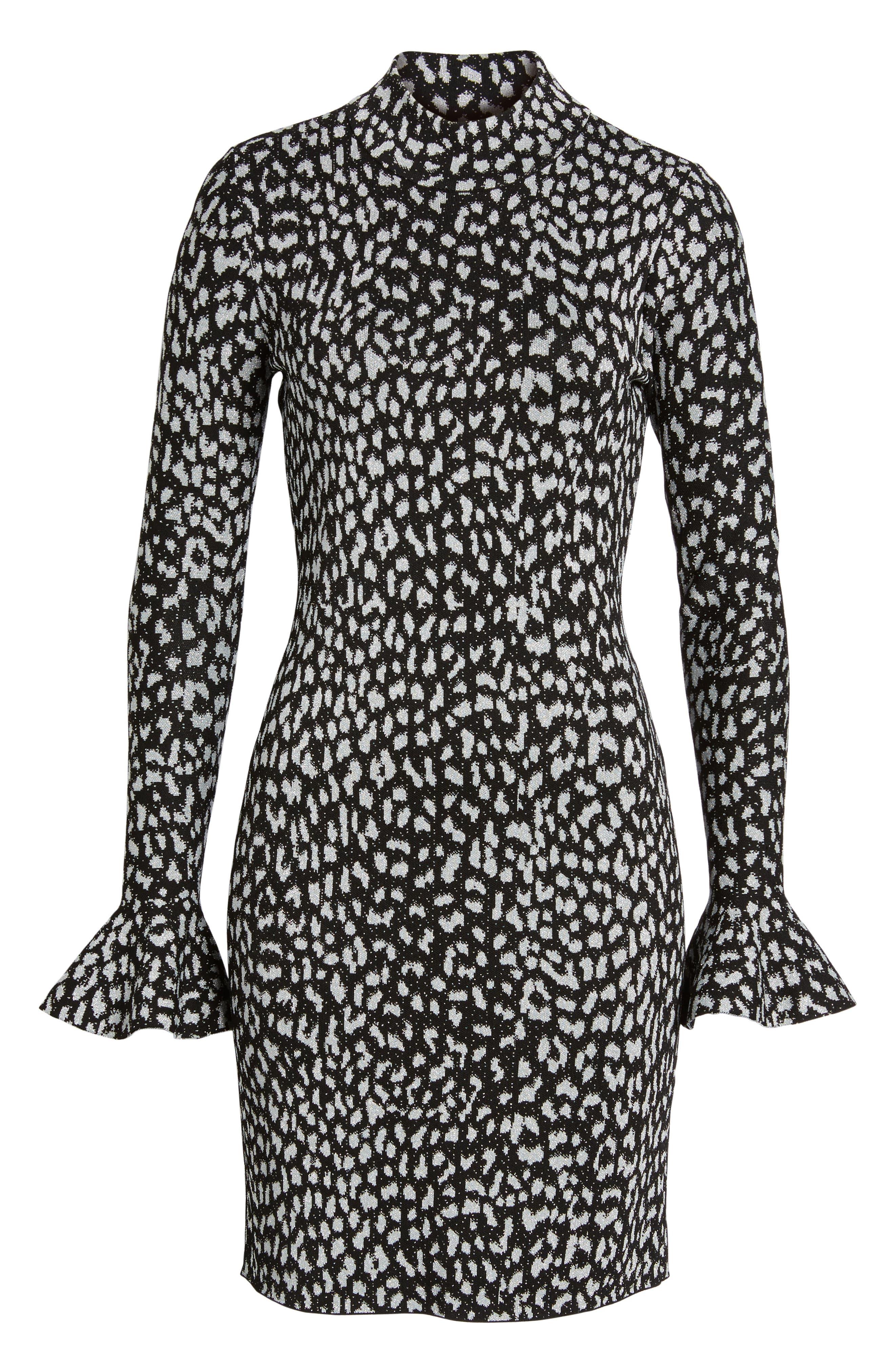 Metallic Cheetah Sheath Dress,                             Alternate thumbnail 6, color,                             Black
