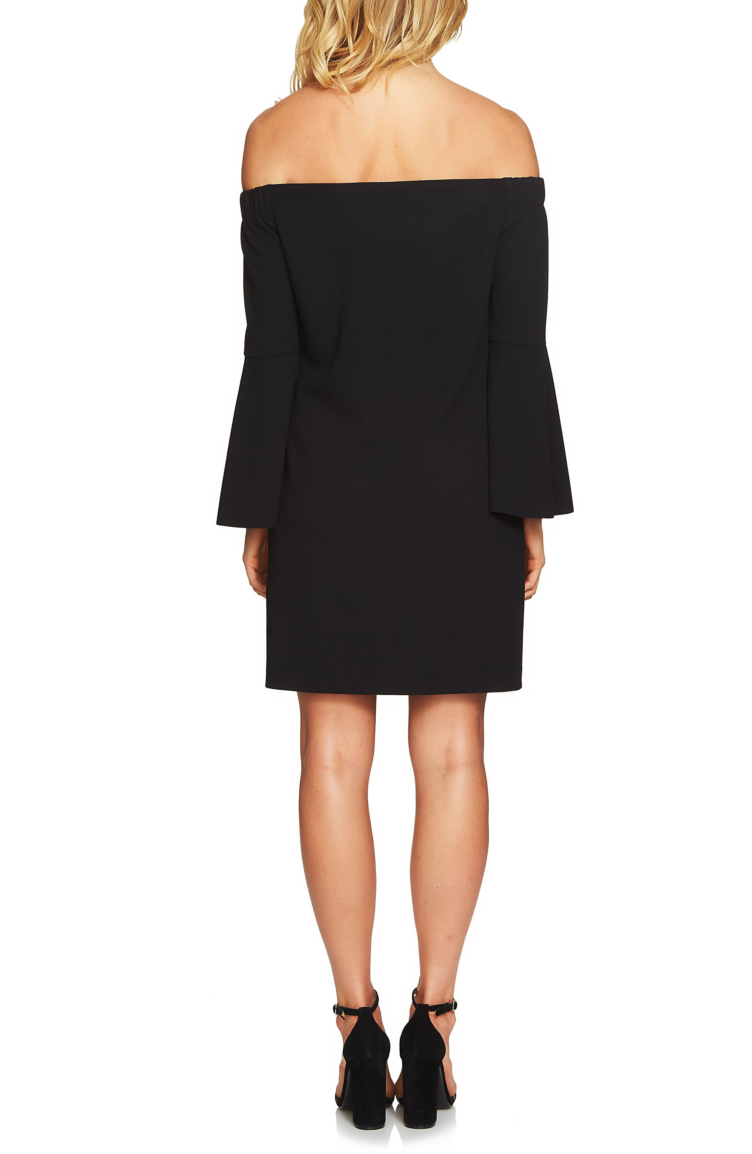 Hadley Off the Shoulder Shift Dress,                             Alternate thumbnail 2, color,                             Rich Black