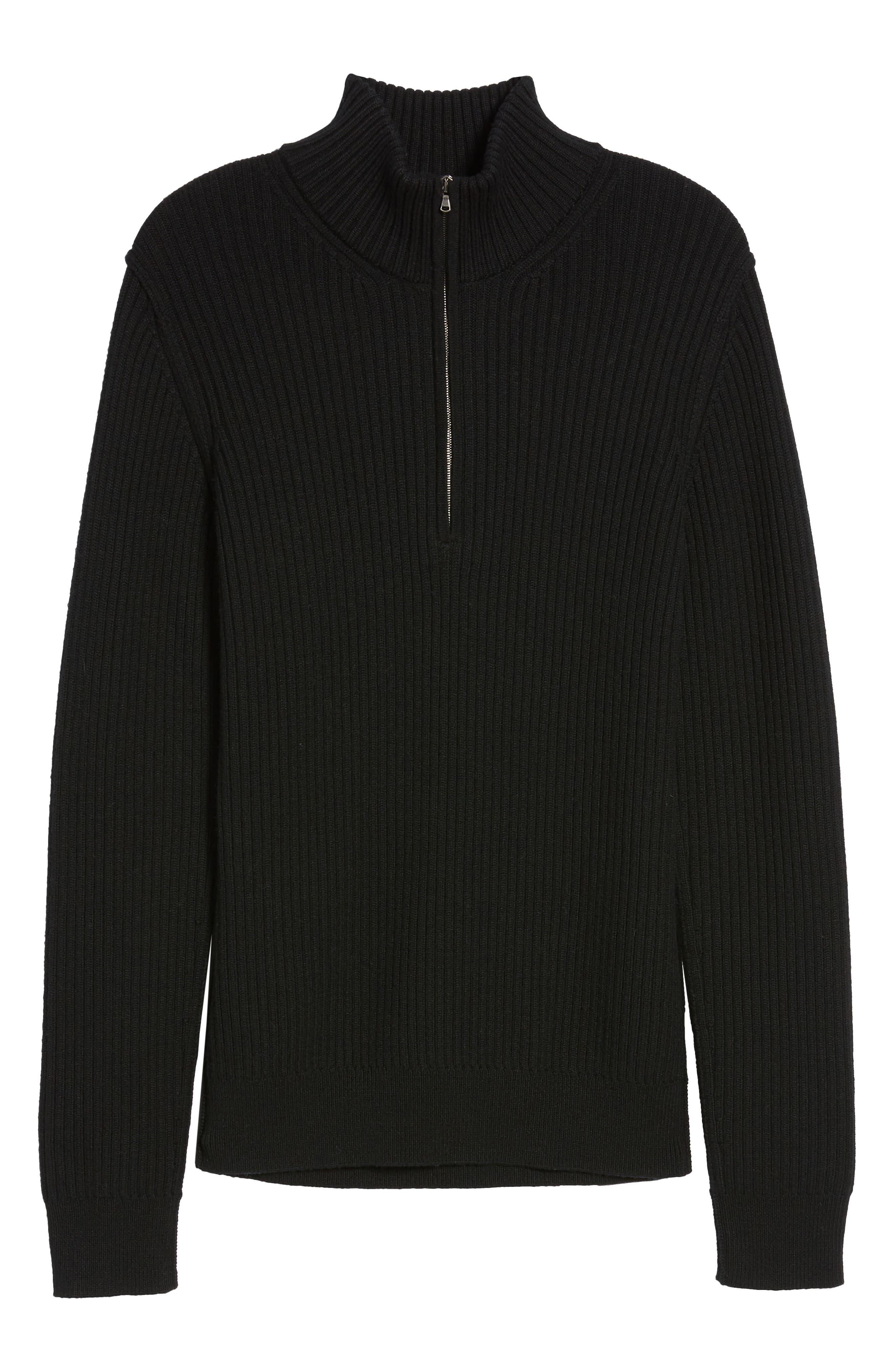 Ribbed Quarter Zip Mock Neck Sweater,                             Alternate thumbnail 5, color,                             Black