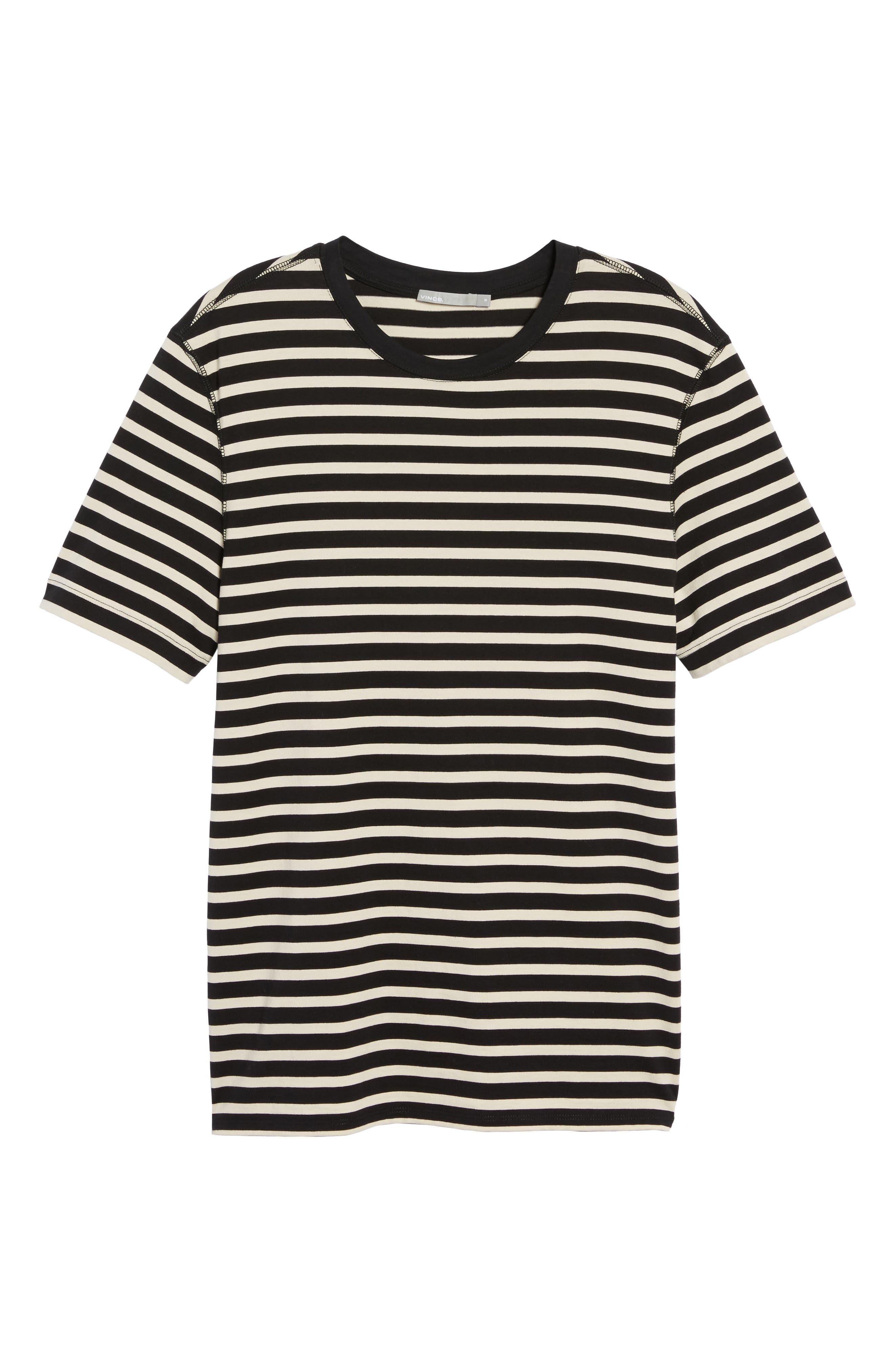 Stripe T-Shirt,                             Alternate thumbnail 5, color,                             Black/ Off White