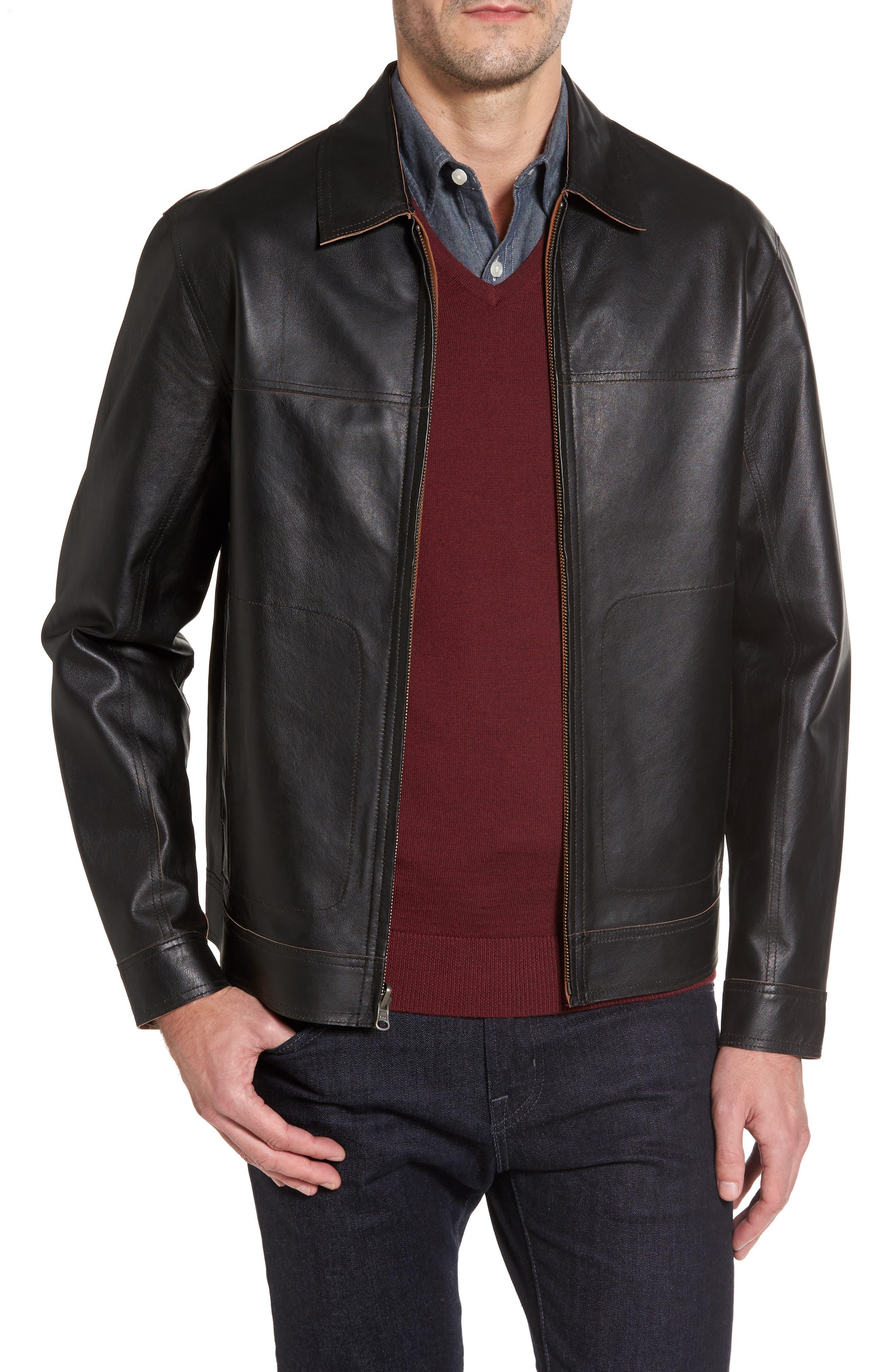 Reversible Leather Jacket,                             Main thumbnail 1, color,                             Black
