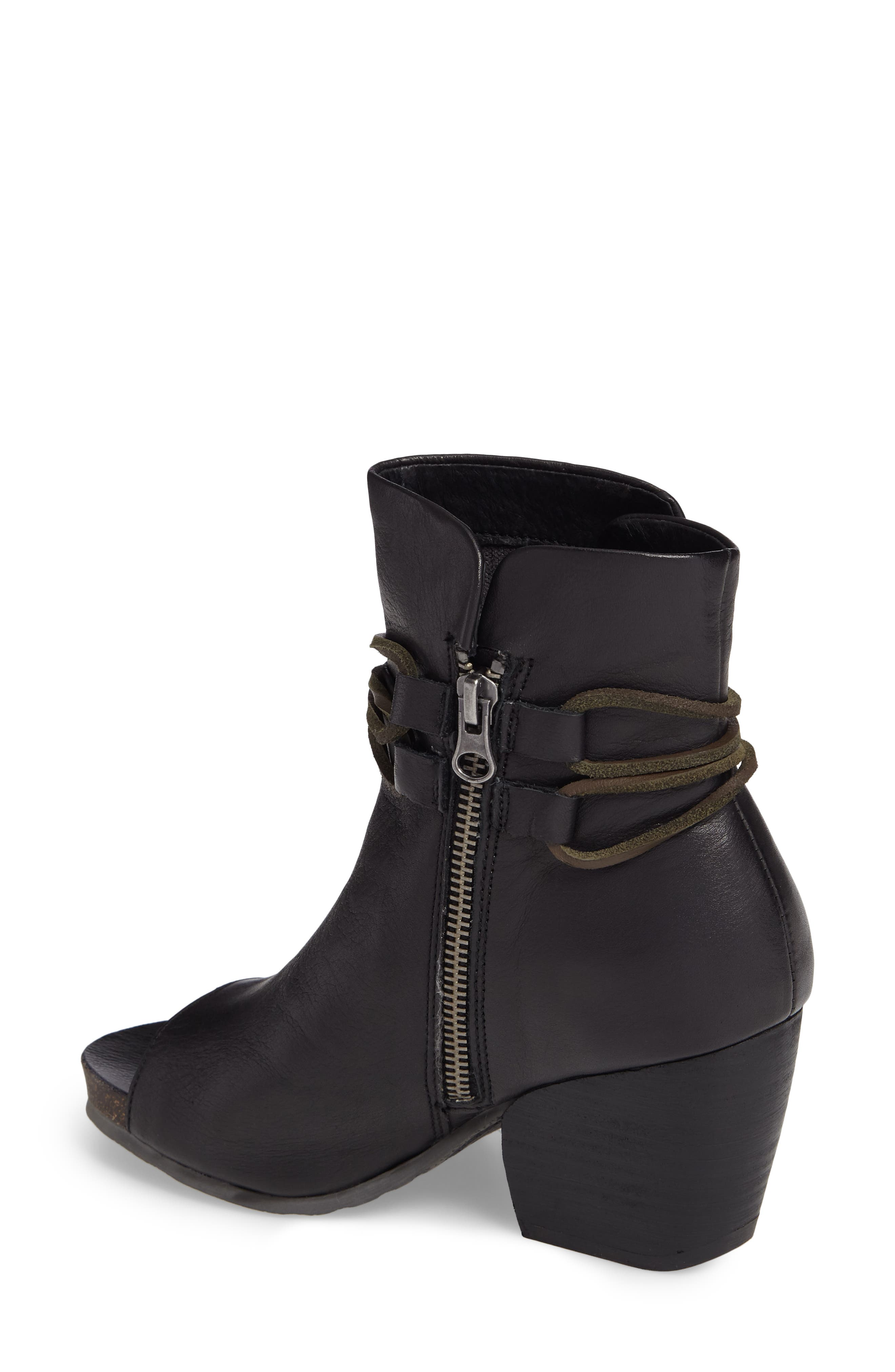 Open Toe Bootie,                             Alternate thumbnail 2, color,                             Black Leather