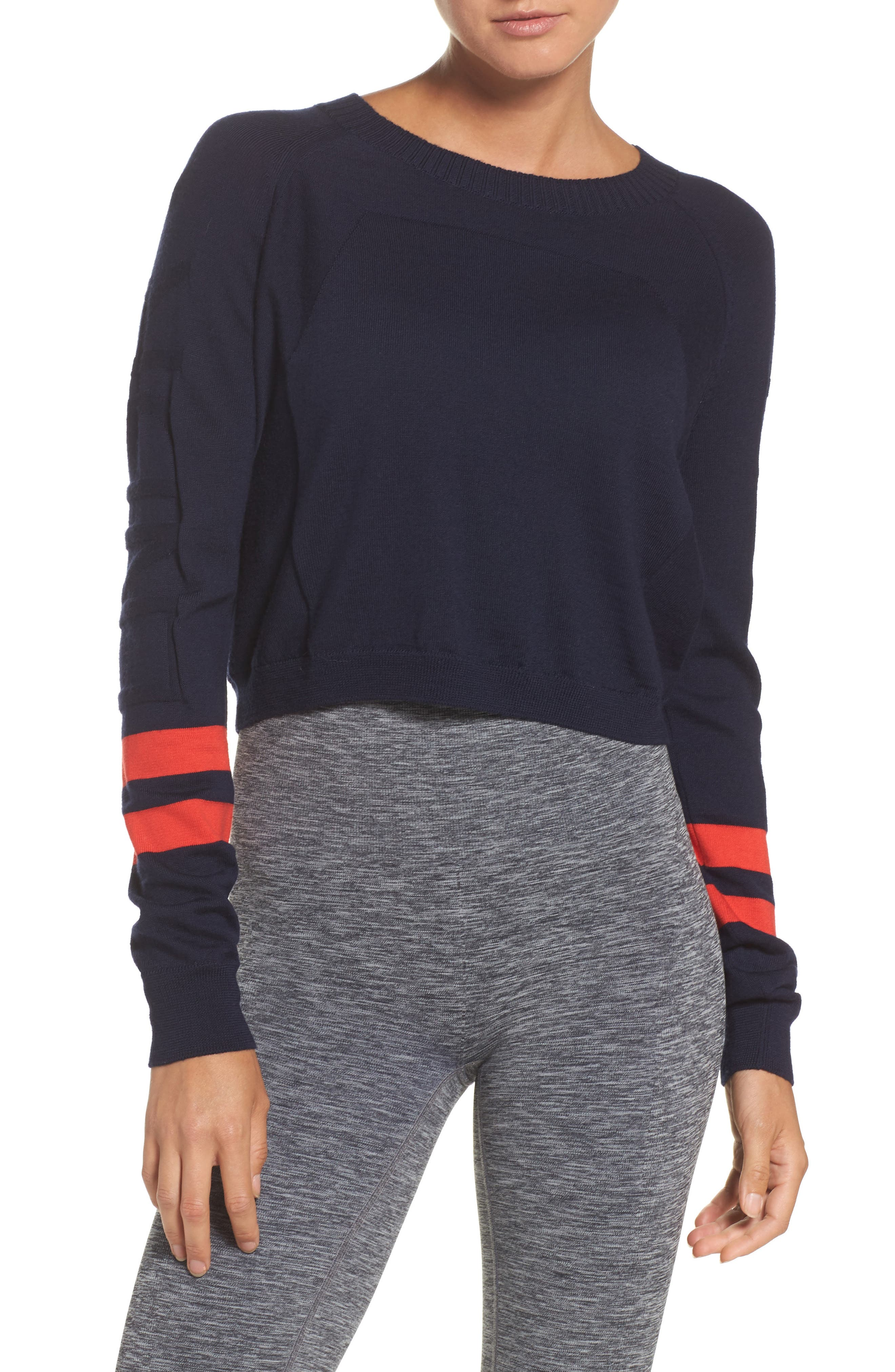 Ace Crop Sweater,                         Main,                         color, Navy Coral