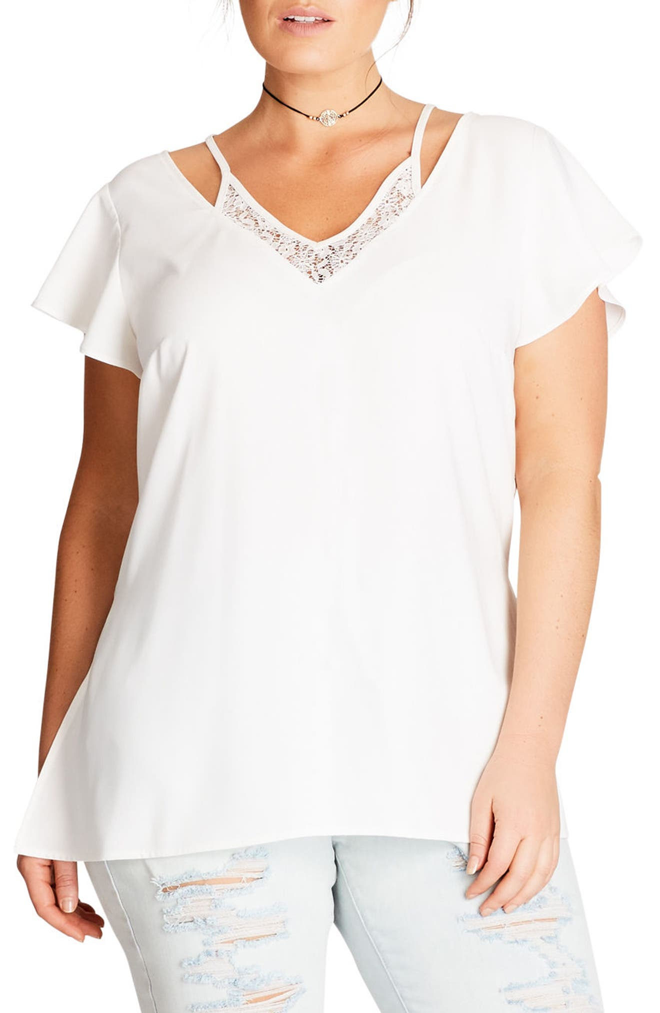 Lace Inset Top,                         Main,                         color, Ivory