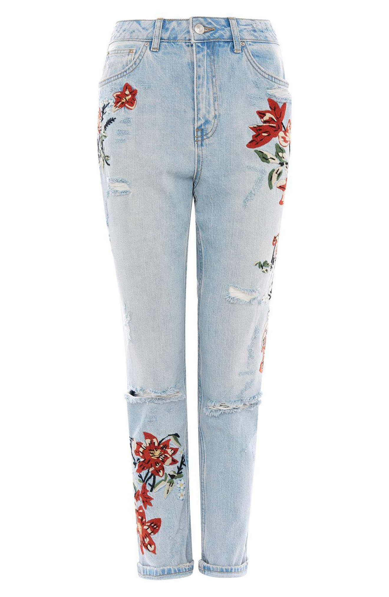 Alternate Image 4  - Topshop Fire Flower High Rise Ripped Mom Jeans (Petite)