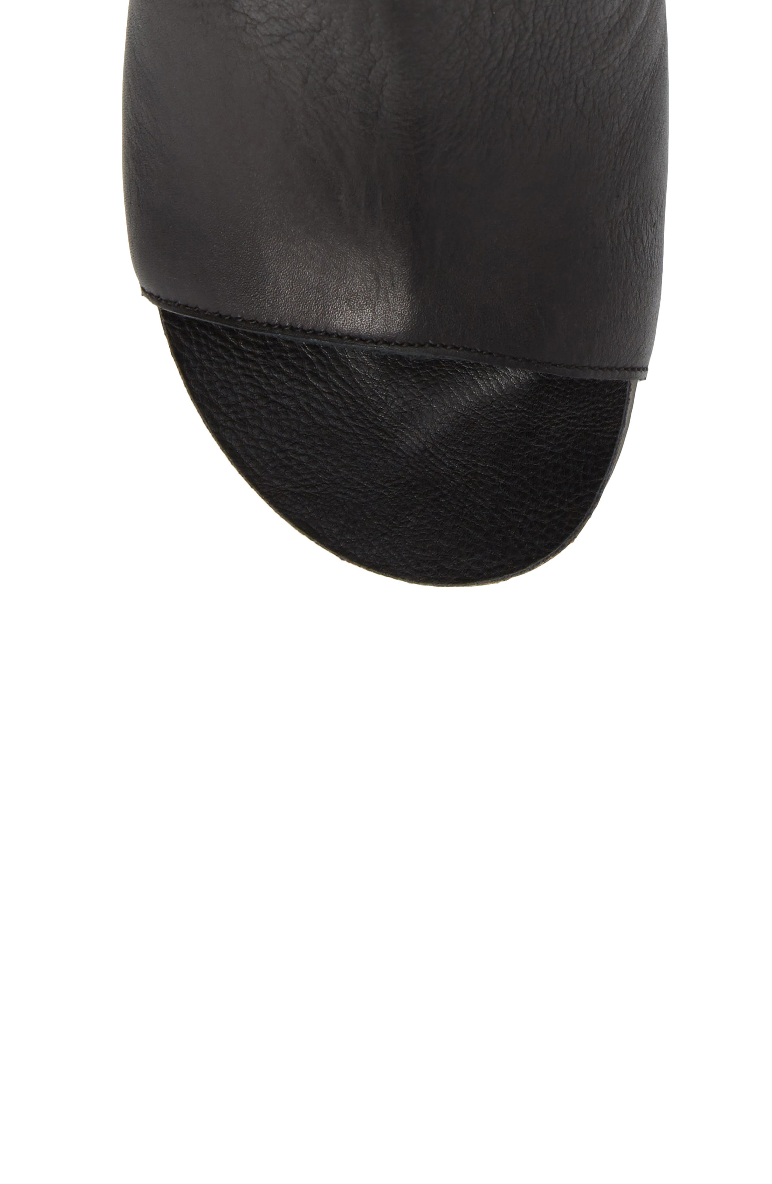 Open Toe Bootie,                             Alternate thumbnail 5, color,                             Black Leather