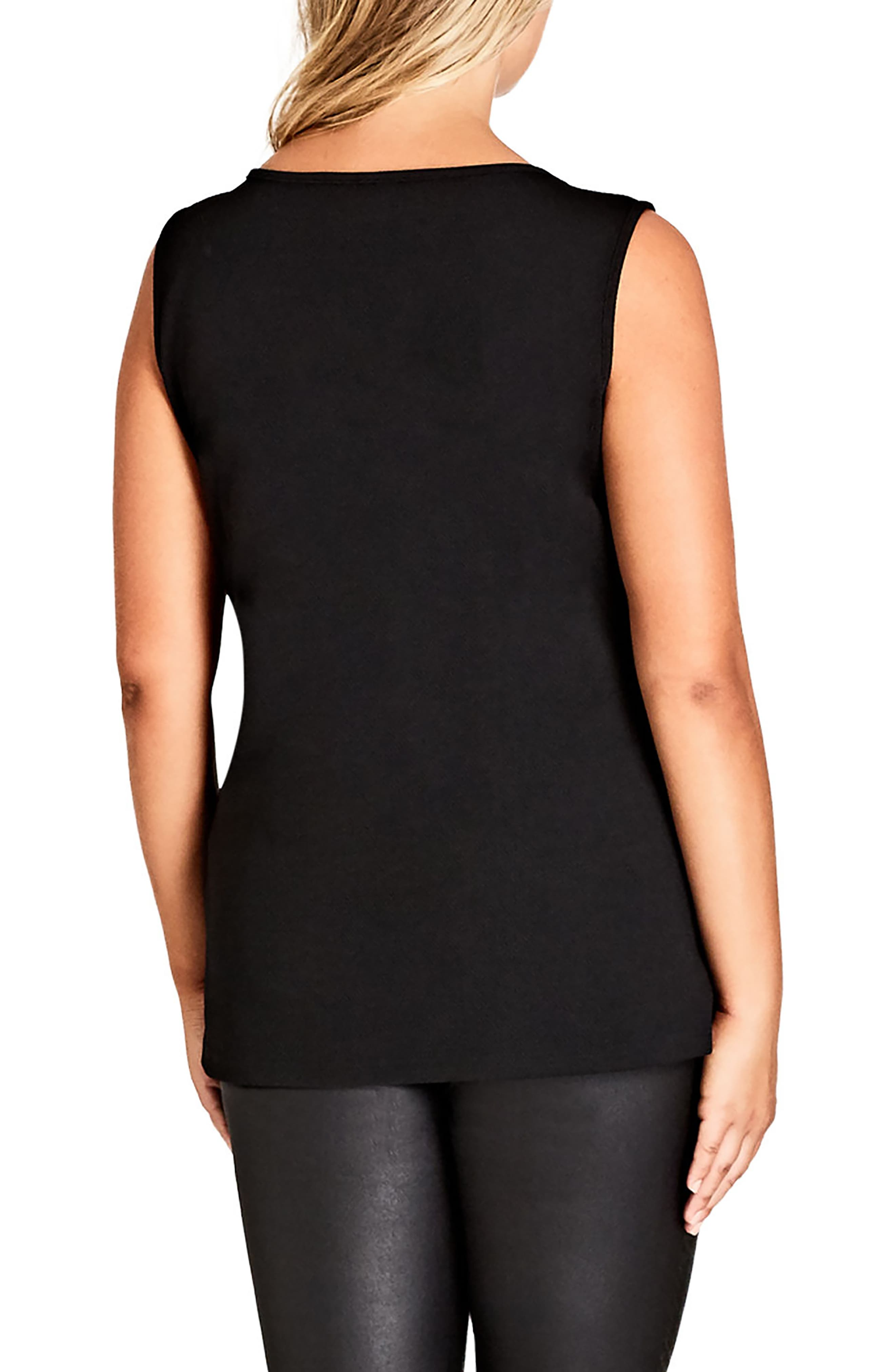 Sleeveless Zip Top,                             Alternate thumbnail 2, color,                             Black