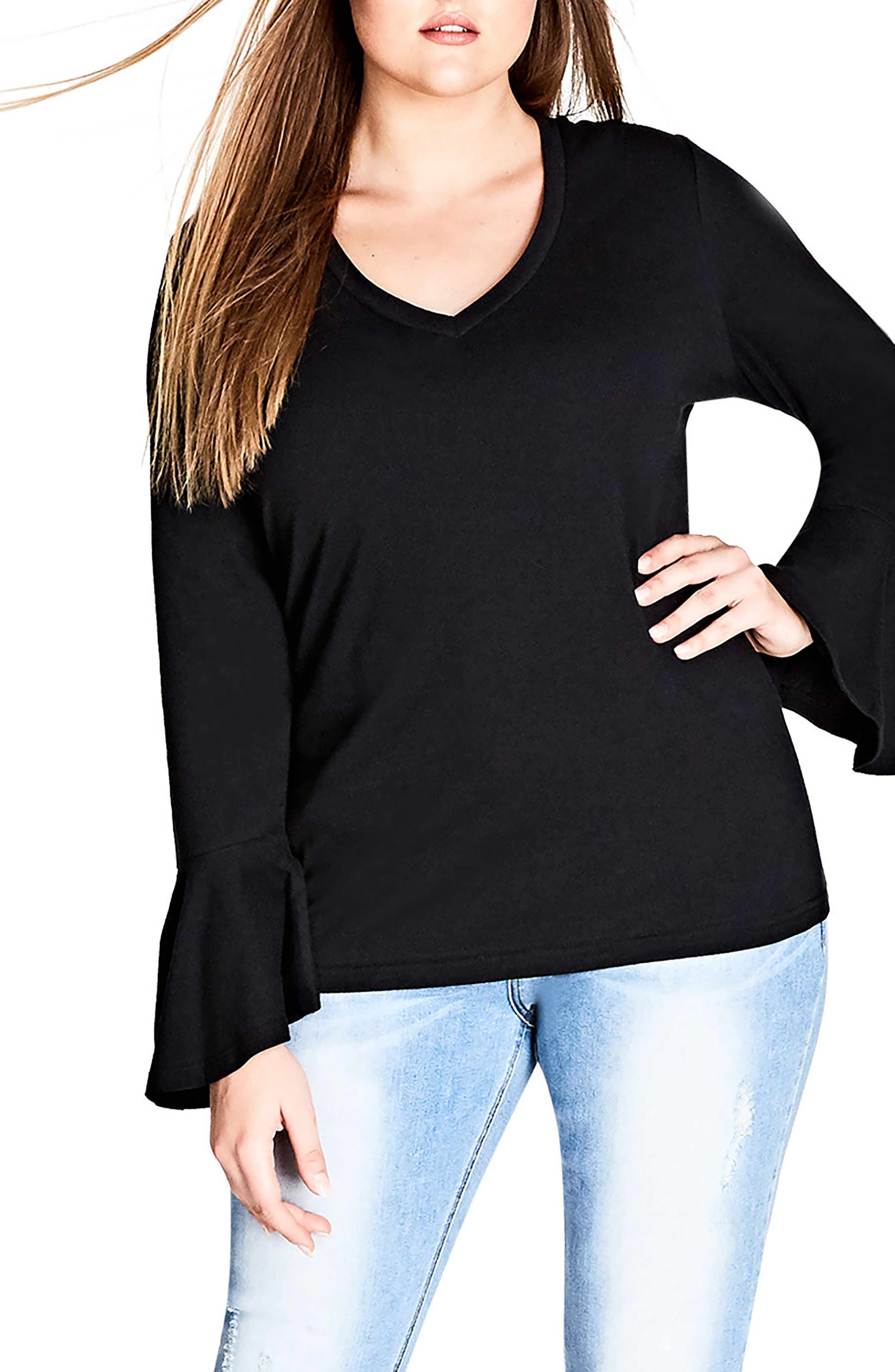 City Chic V-Neck Bell Sleeve Top (Plus Size)