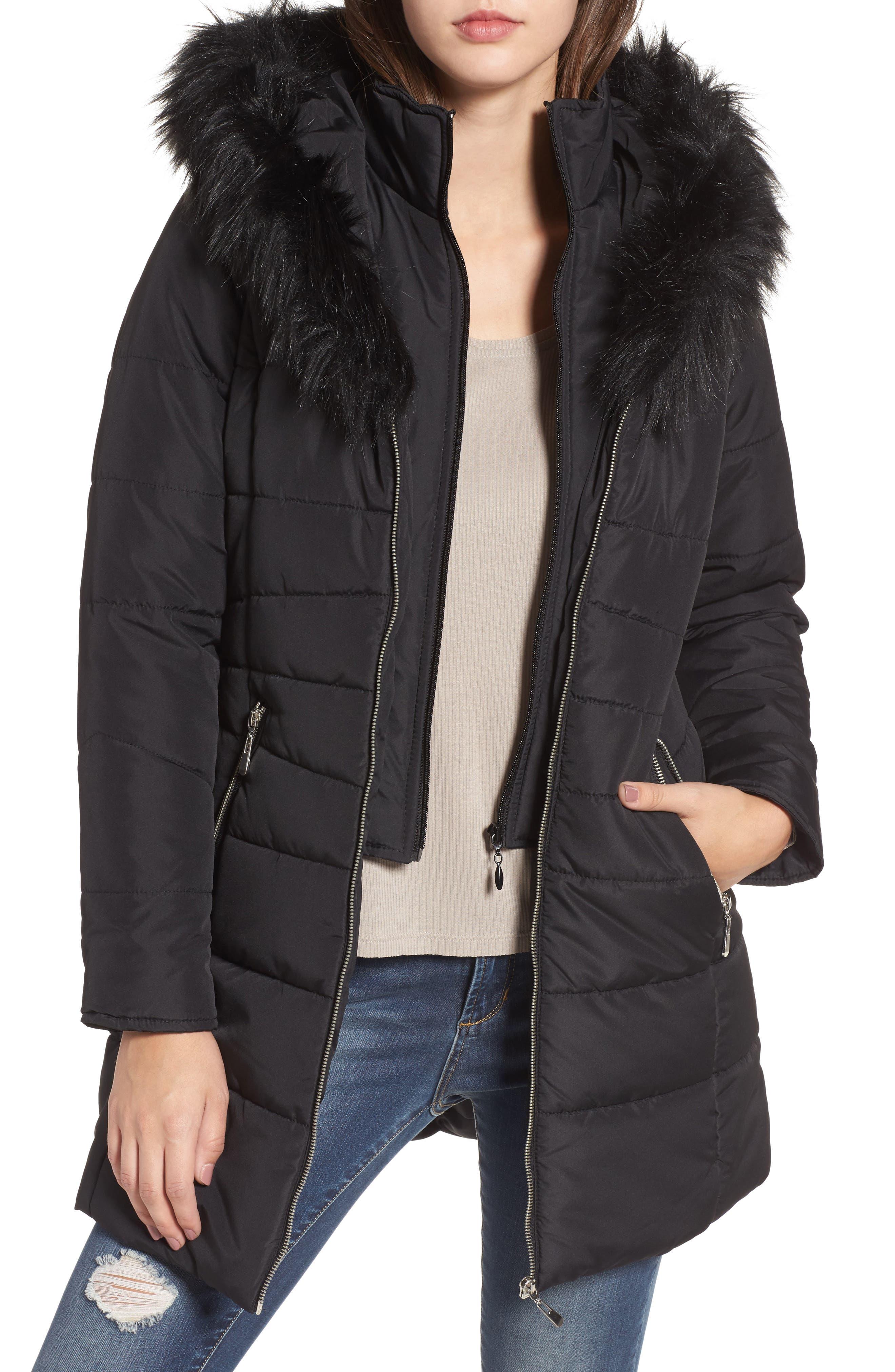 Faux Fur Collar Quilted Walker Coat,                             Main thumbnail 1, color,                             Black
